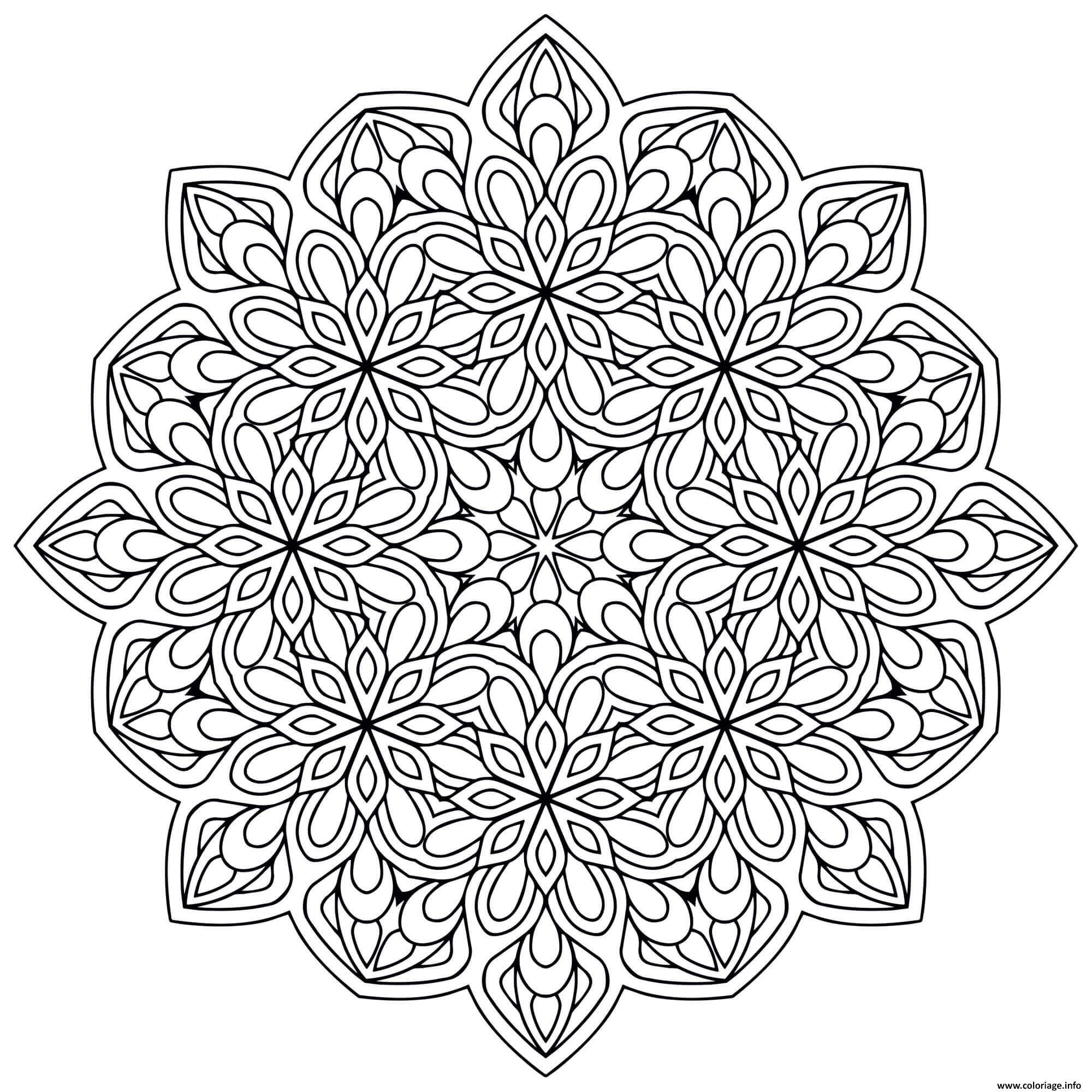Coloriage Mandala Zen Antistress Fleurs dessin