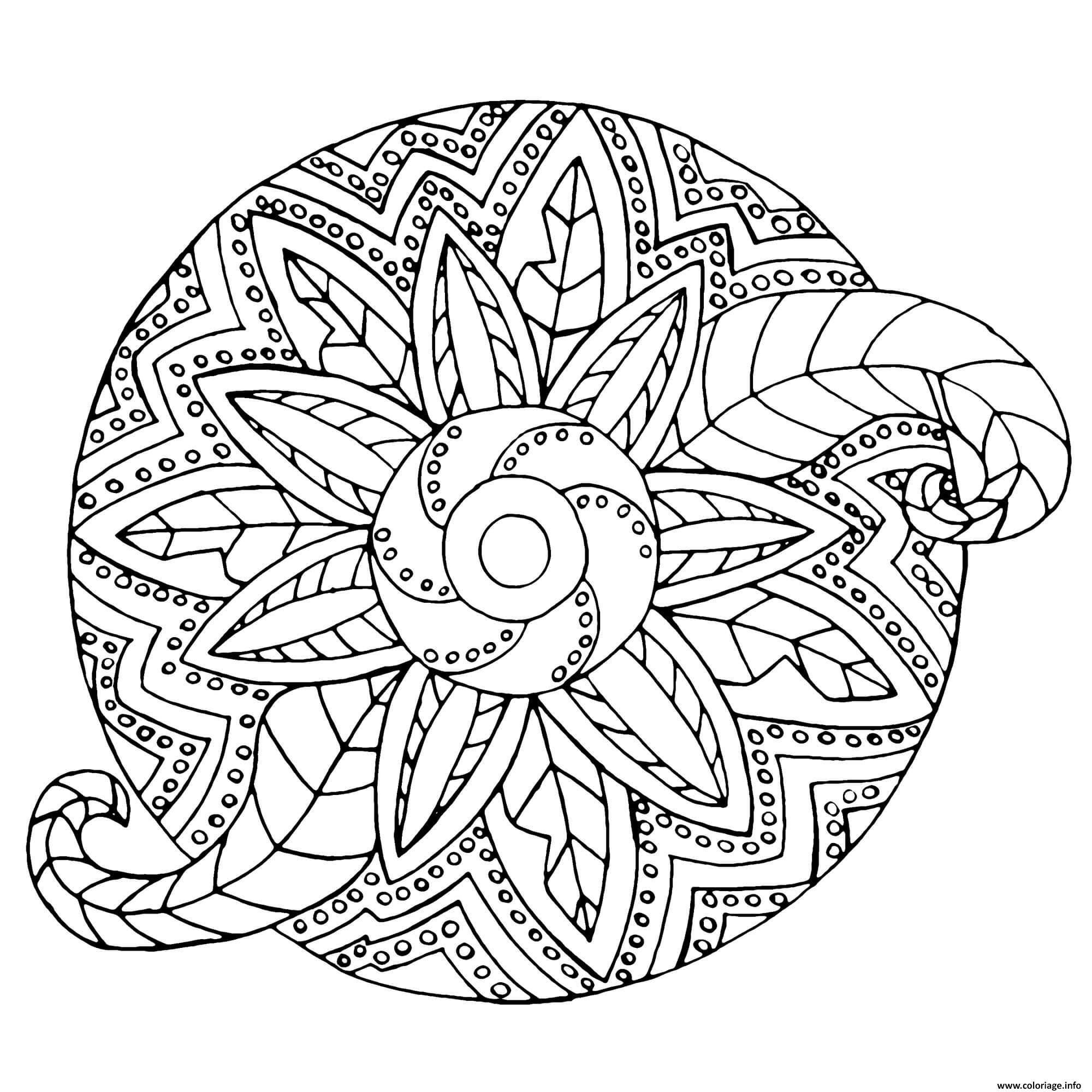 Dessin mandala adulte fleur vegetal Coloriage Gratuit à Imprimer