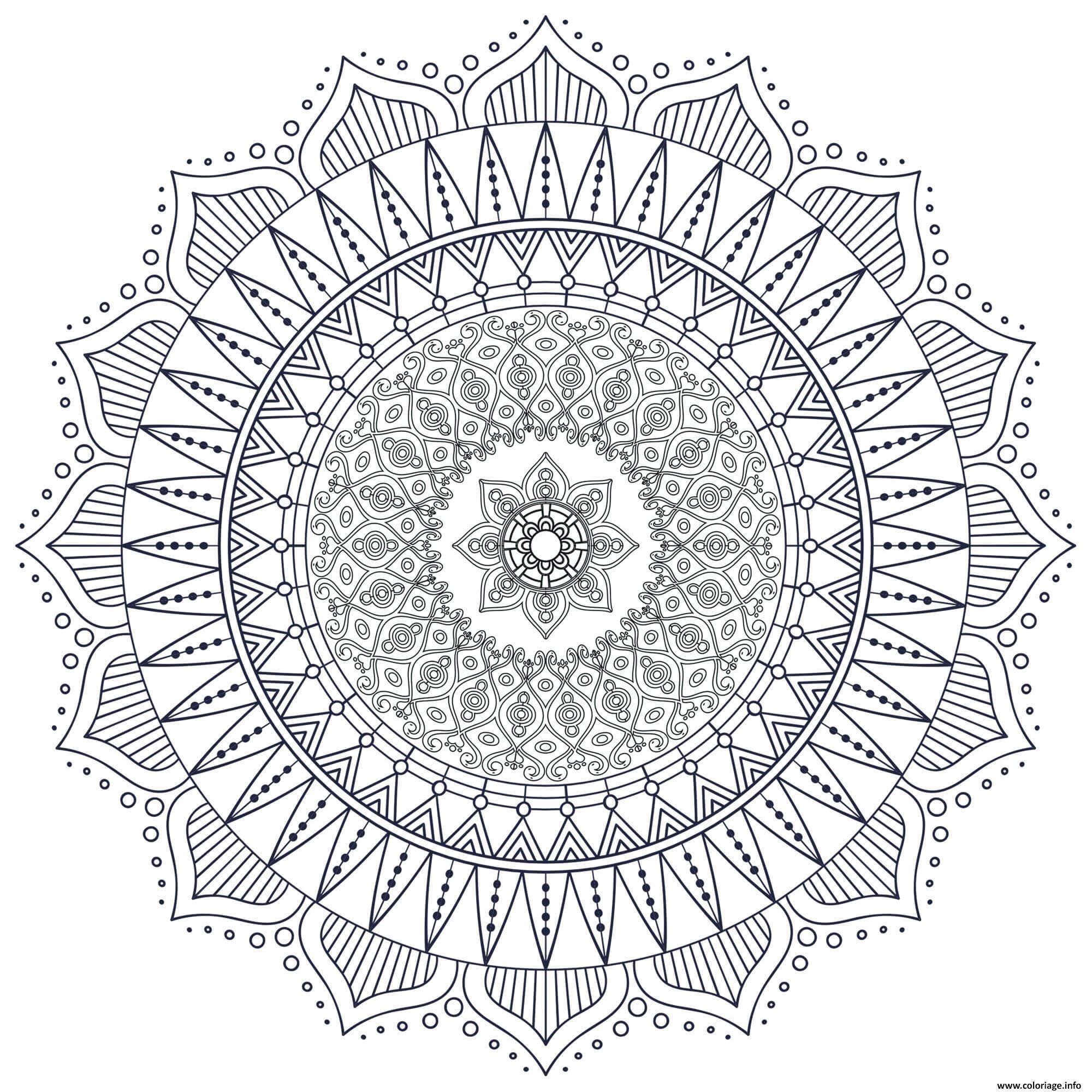 Dessin mandala zen antistress formes geometriques Coloriage Gratuit à Imprimer