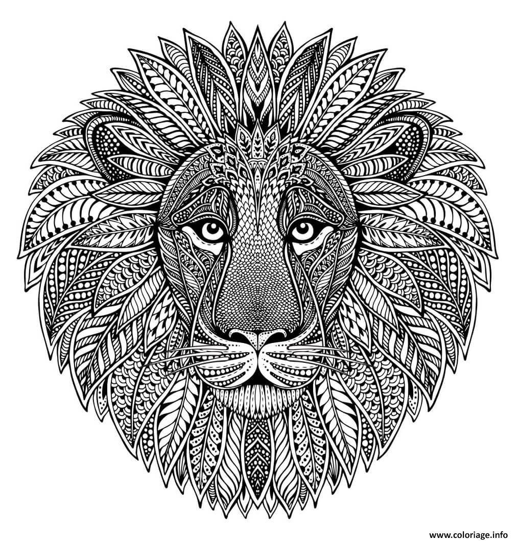 Dessin mandala animaux adulte tete de lion Coloriage Gratuit à Imprimer