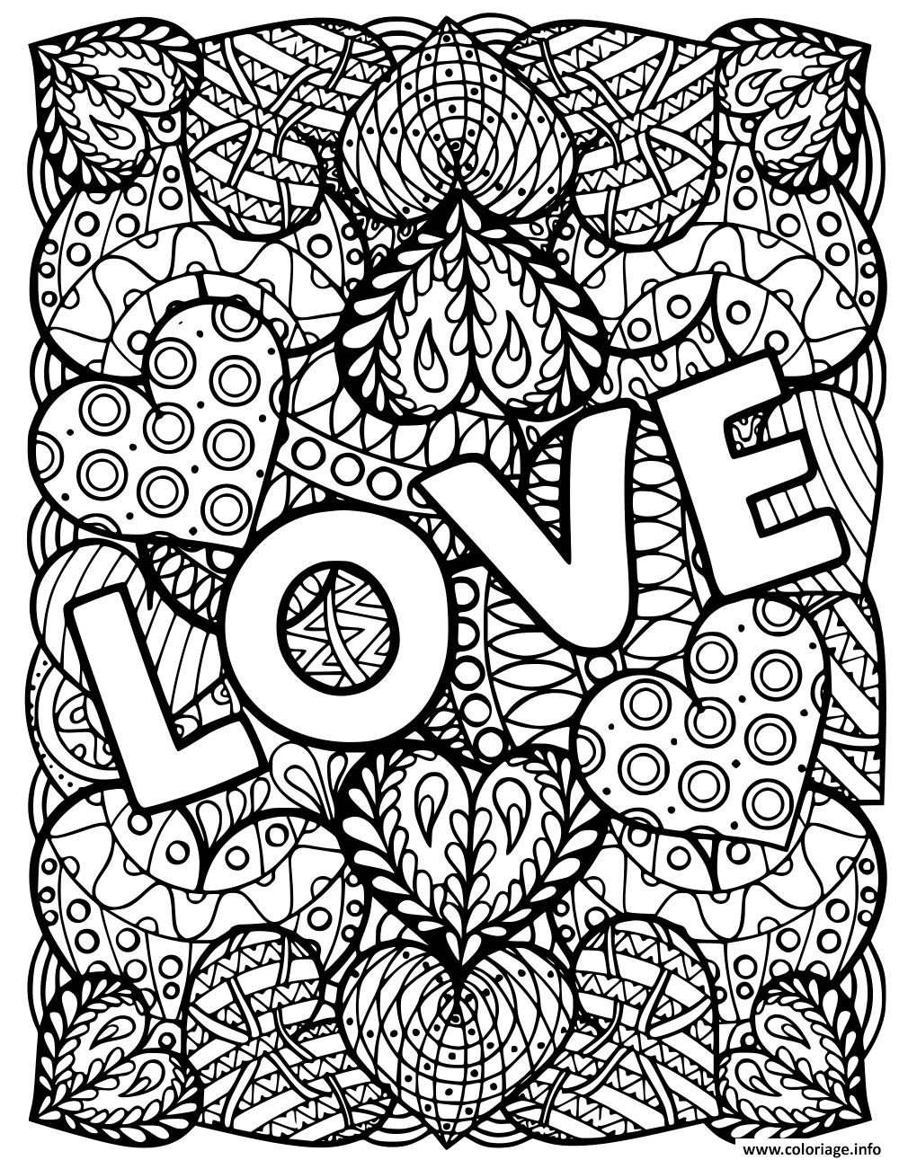 Dessin adulte love coeurs saint valentin Coloriage Gratuit à Imprimer