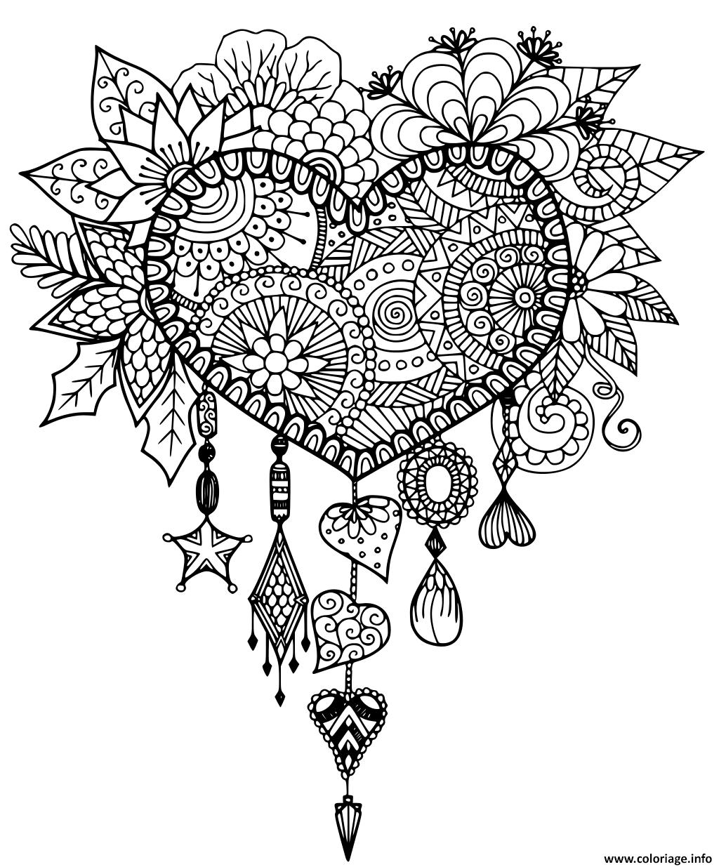 Dessin coeur adulte saint valentin zentangle Coloriage Gratuit à Imprimer