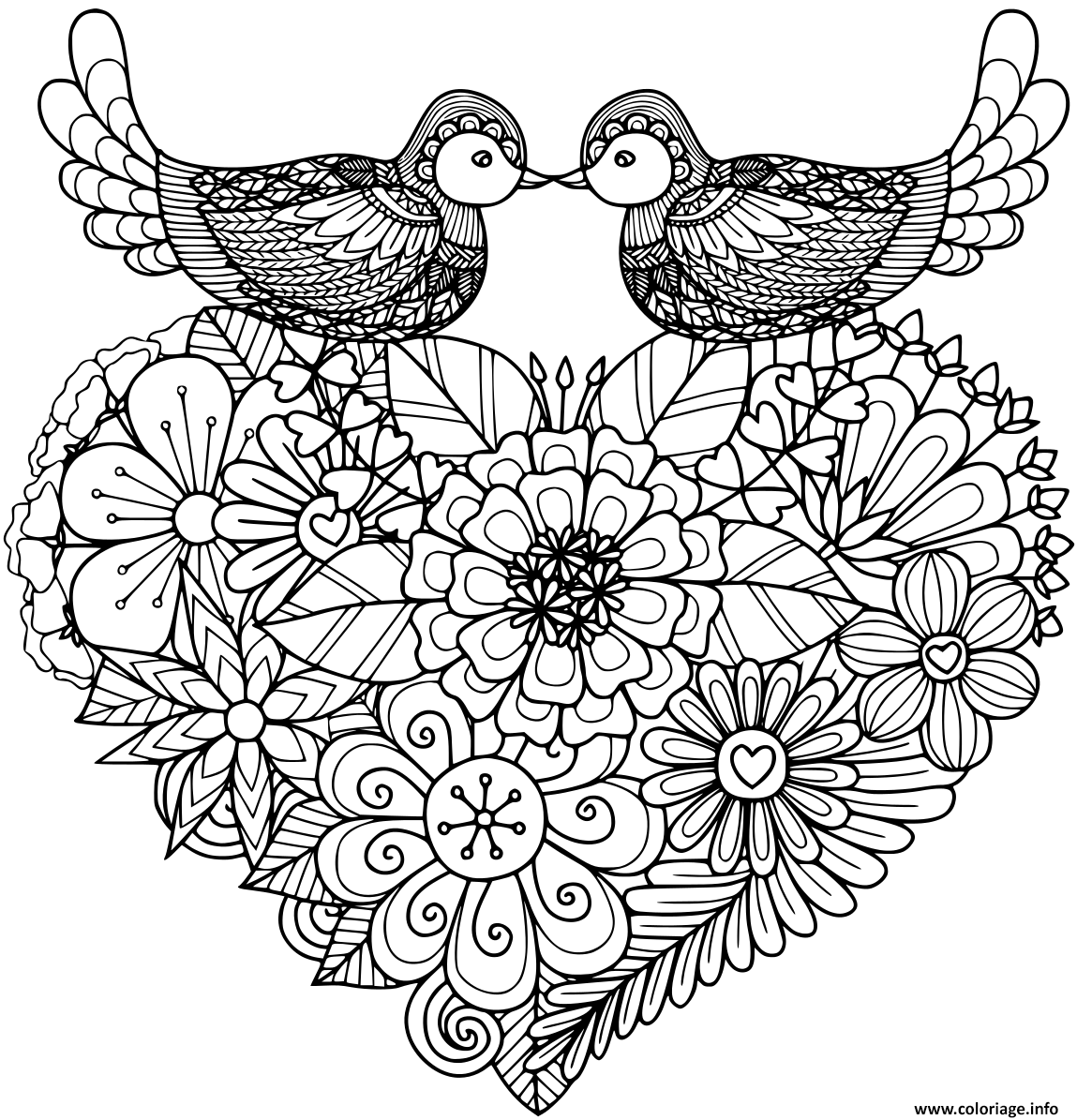 Dessin deux oiseaux amoureux coeur fleurs Coloriage Gratuit à Imprimer