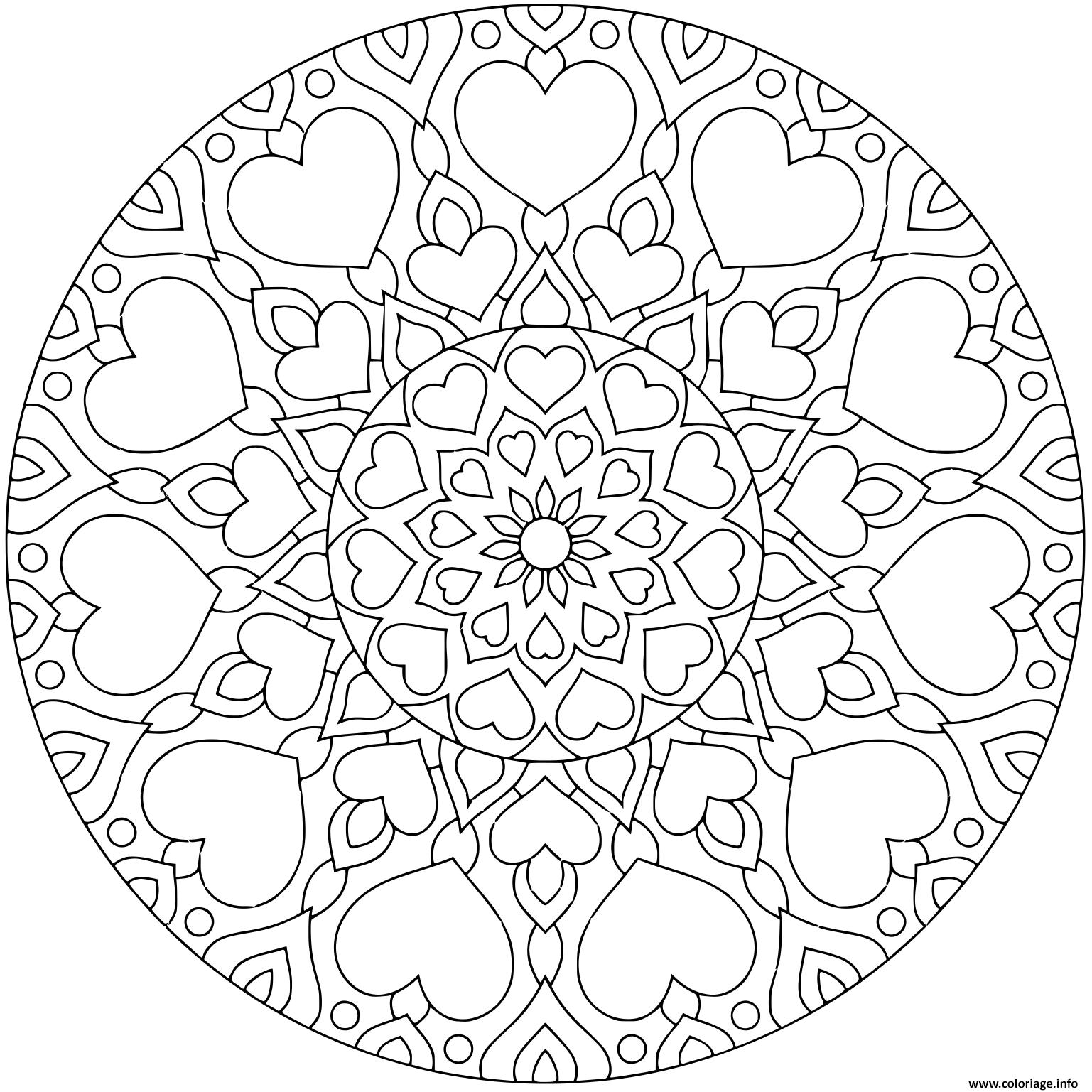Dessin fleurs mandala avec coeurs pour adulte Coloriage Gratuit à Imprimer