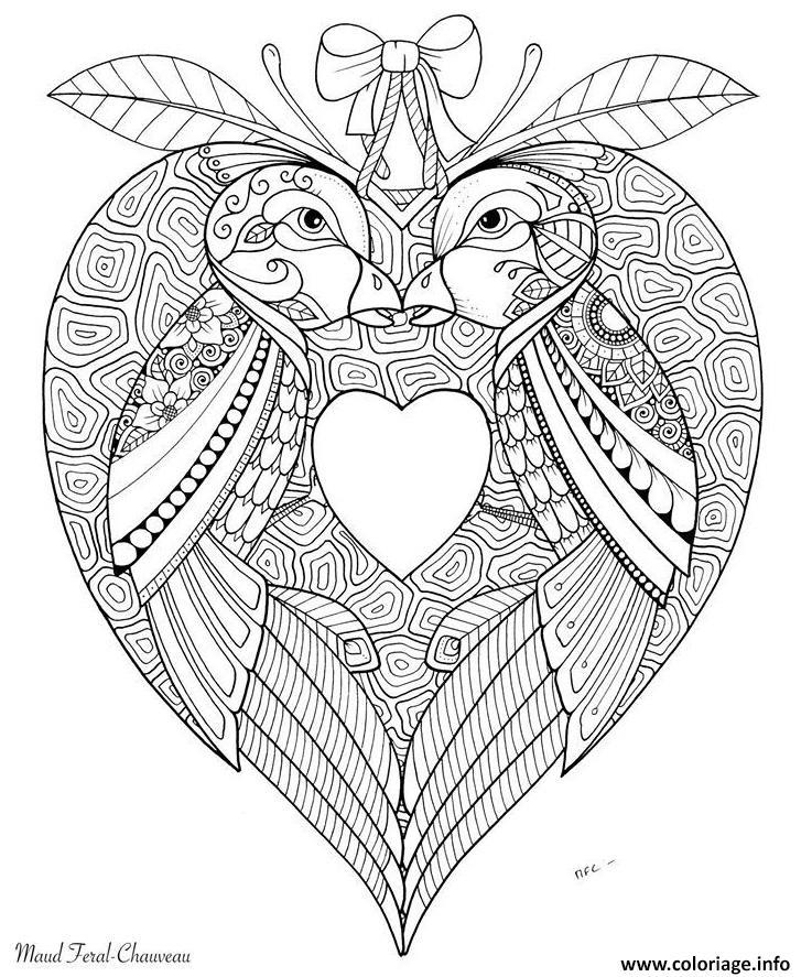Dessin oiseaux amoureux saint valentin Coloriage Gratuit à Imprimer