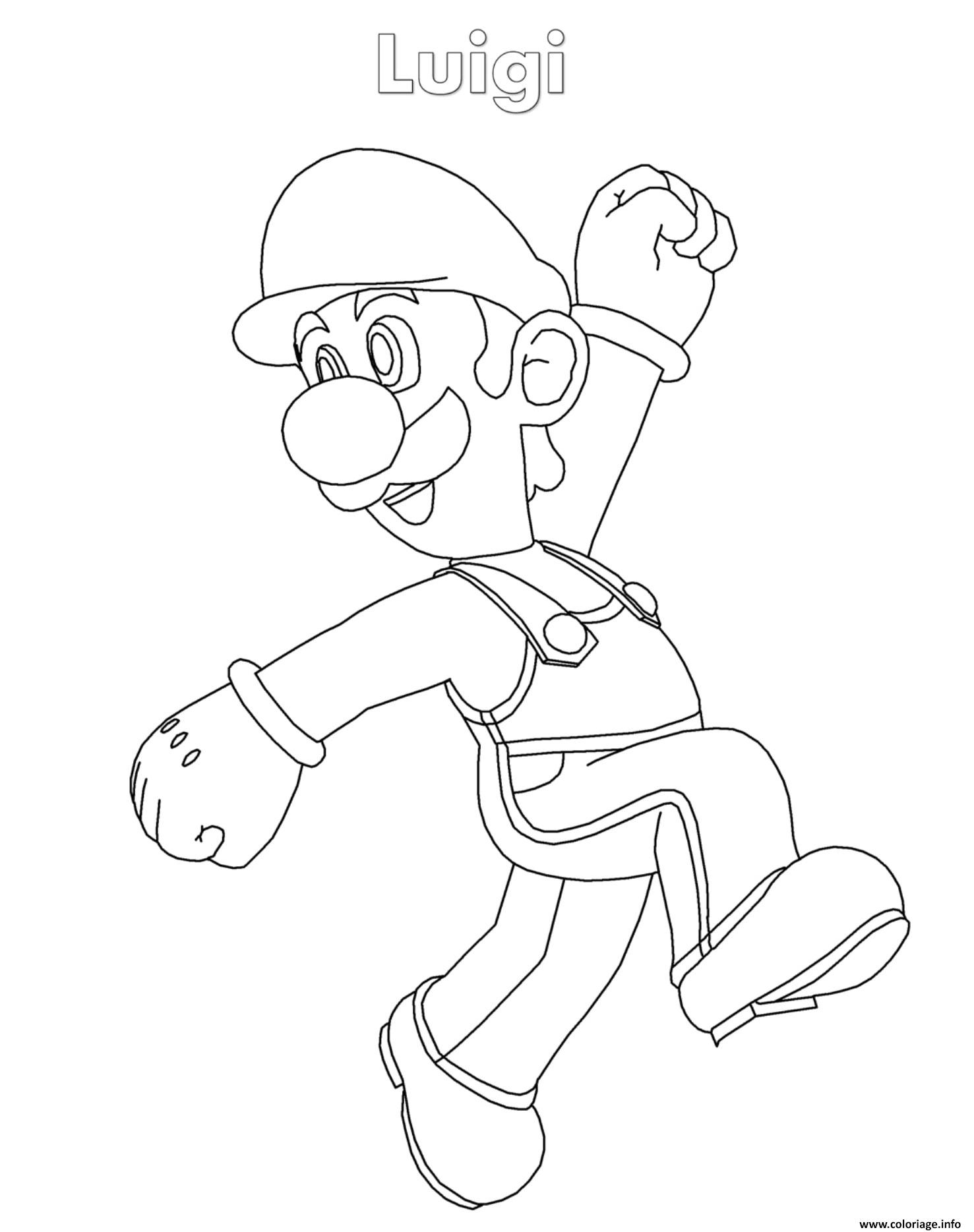 Coloriage Luigi Super Mario Nintendo Jecolorie Com