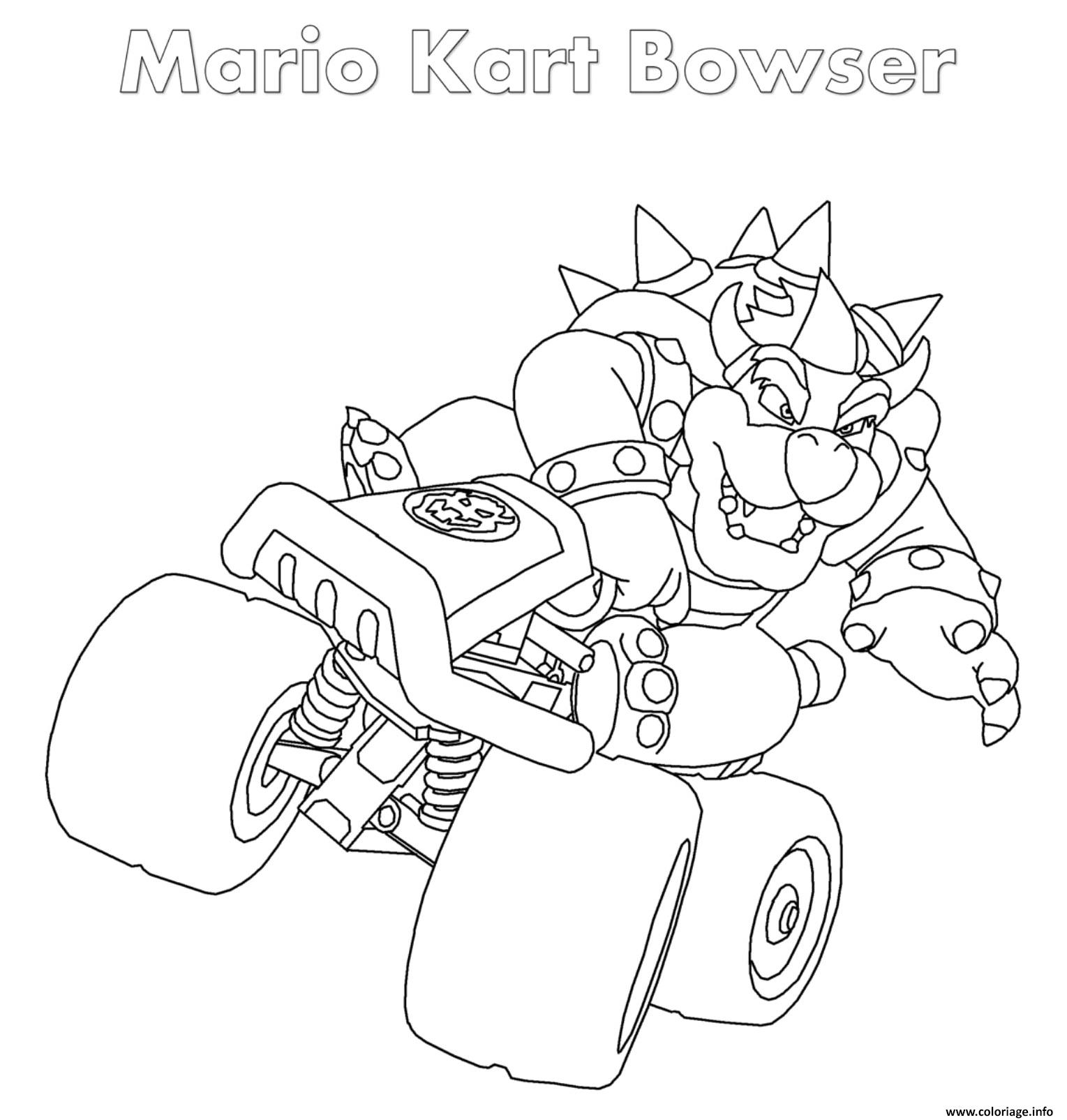 Coloriage Bowser Mario Kart Nintendo dessin