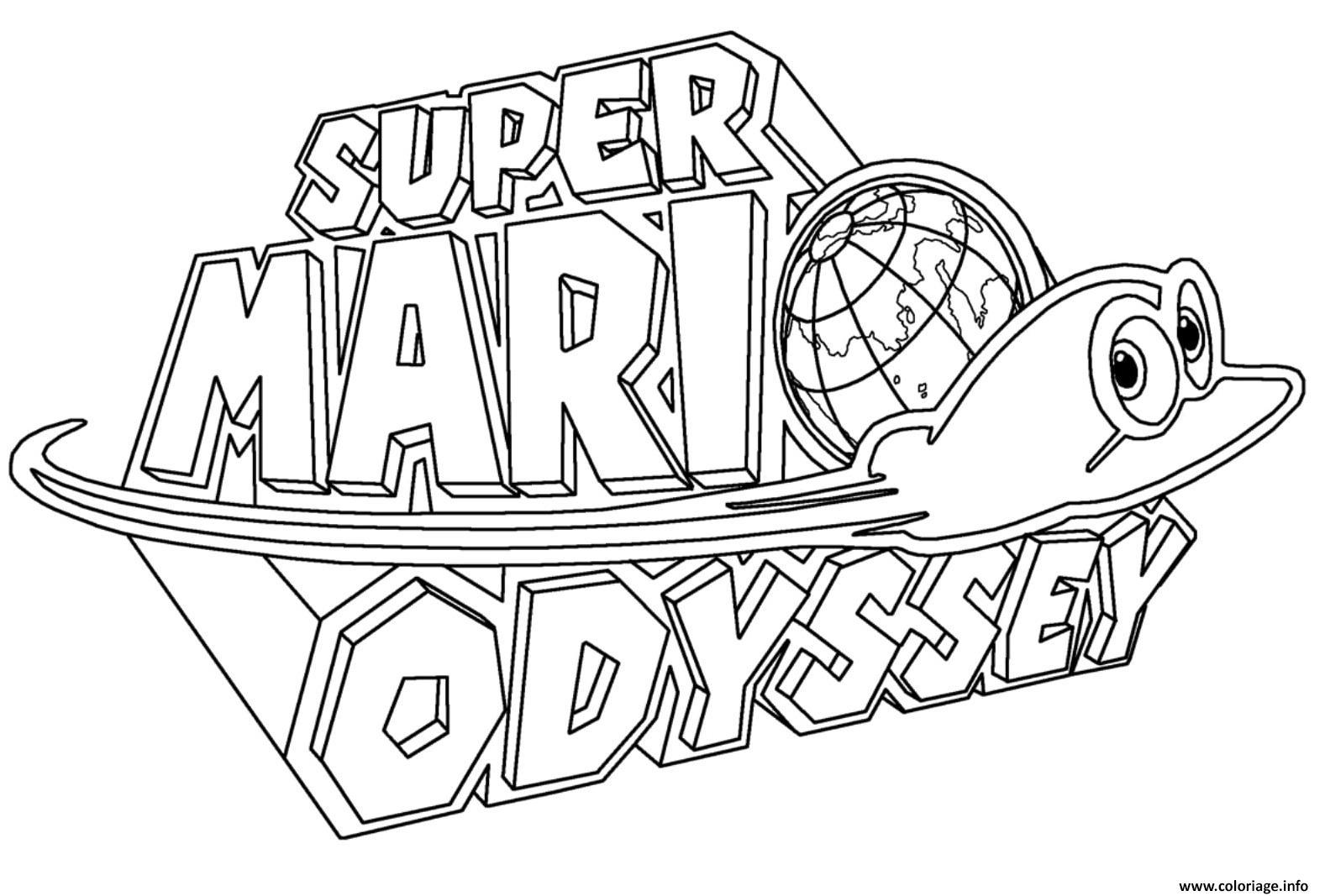 Coloriage Super Mario Odyssey Logo Nintendo Dessin
