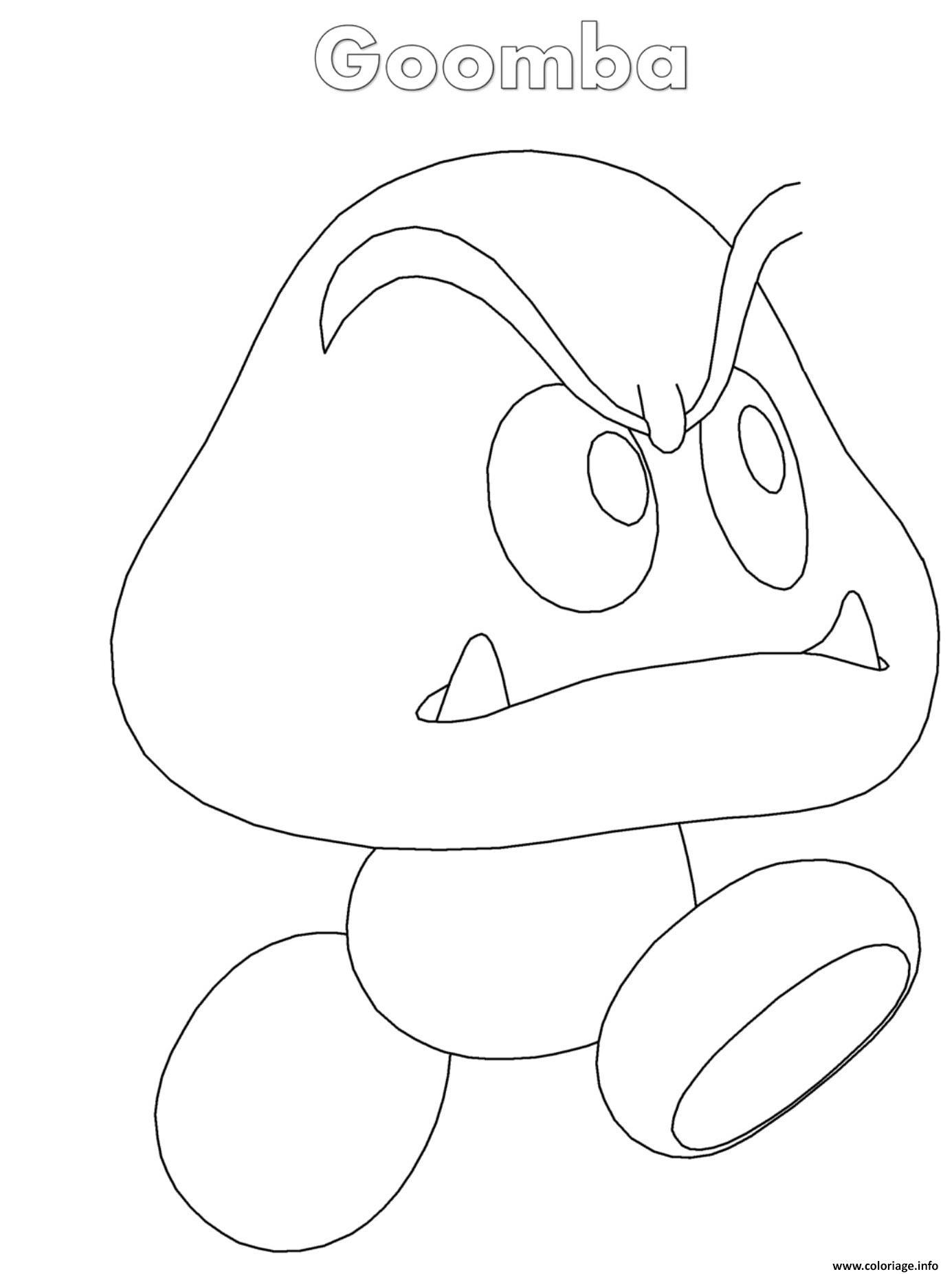 Mario Goomba Coloring Pages Shefalitayal