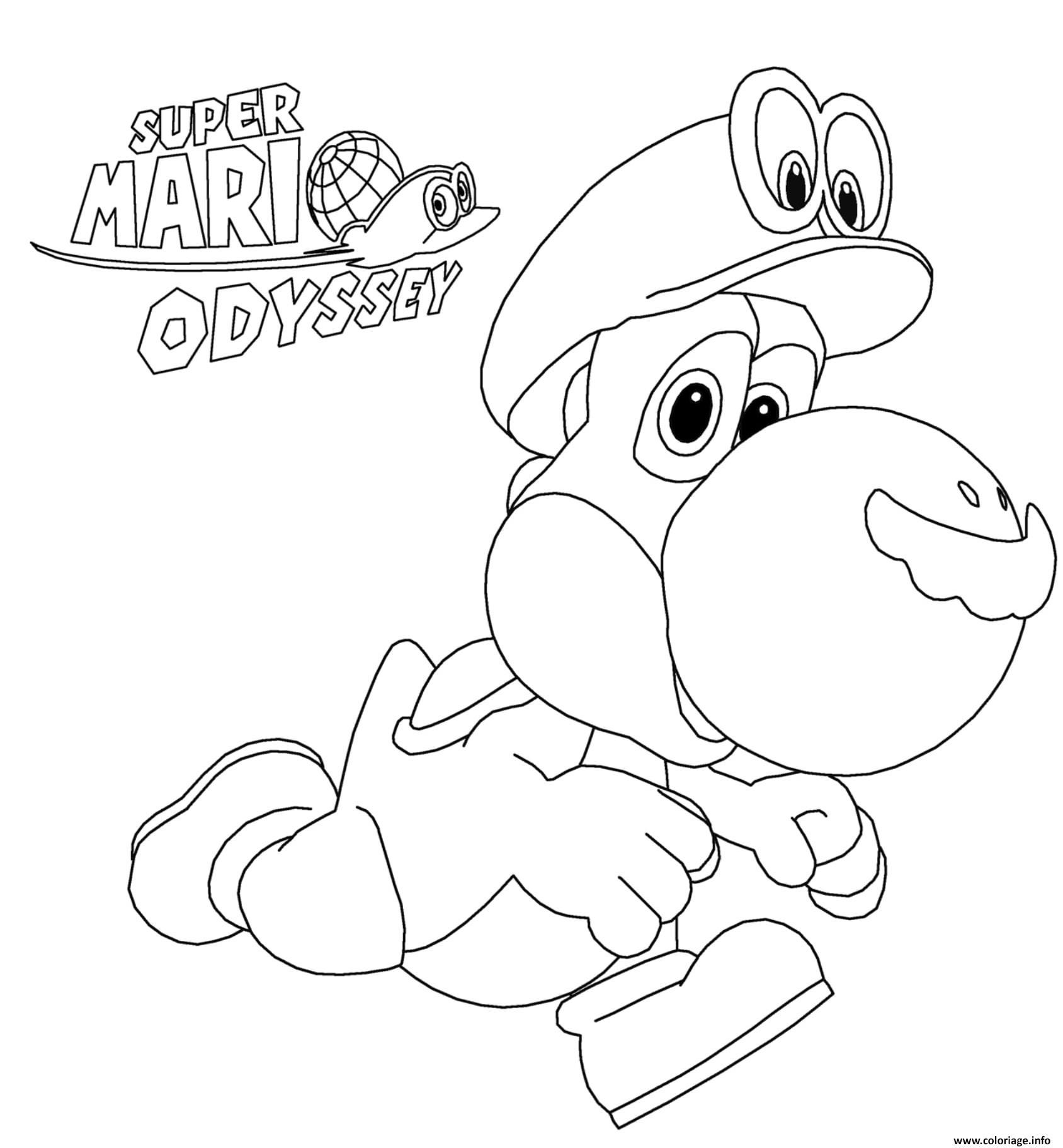 Coloriage Super Mario Odyssey Yoshi Nintendo Jecolorie Com