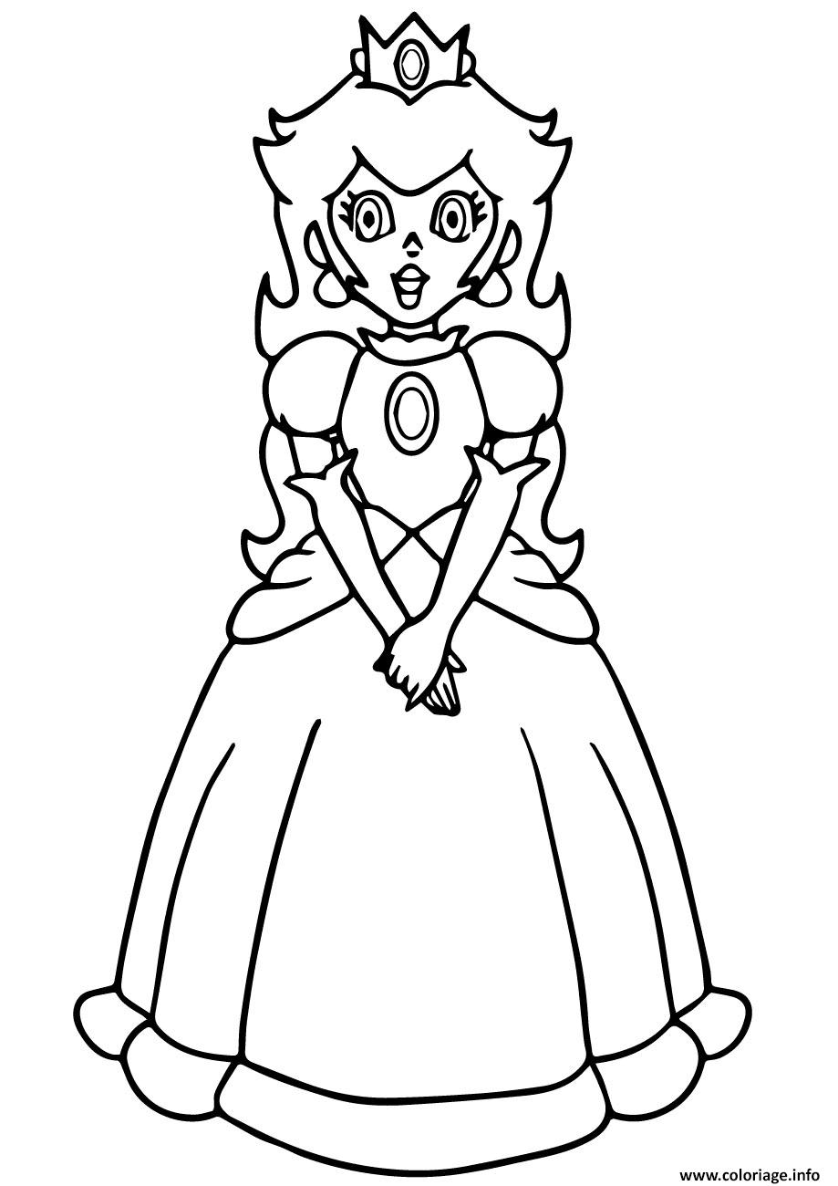 Coloriage Princesse De Mario.Coloriage Super Mario Princess Peach Jecolorie Com