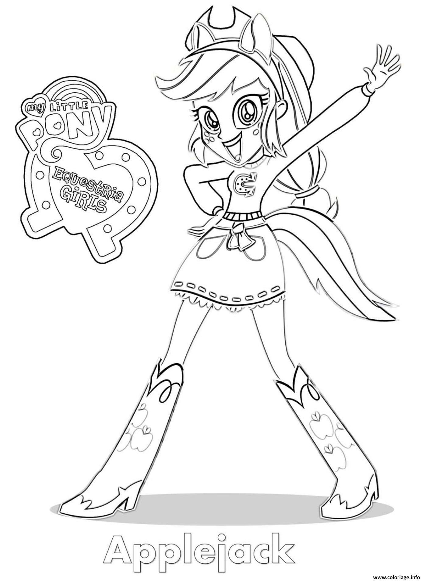 Coloriage Equestria Girls Applejack Dessin