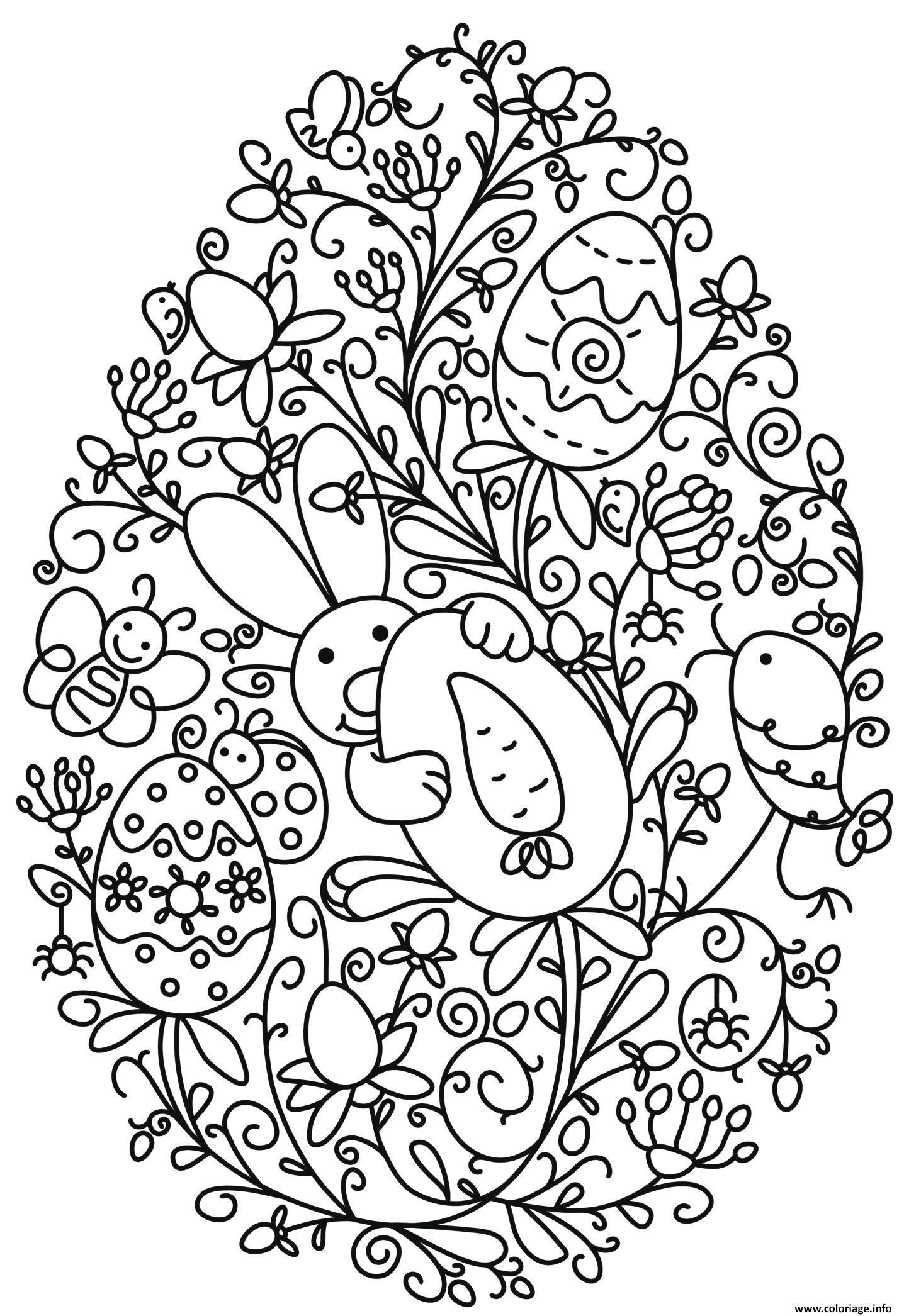 Coloriage Adulte Paques.Coloriage Lapin Et Oeuf De Paques Fleurs Adulte Jecolorie Com