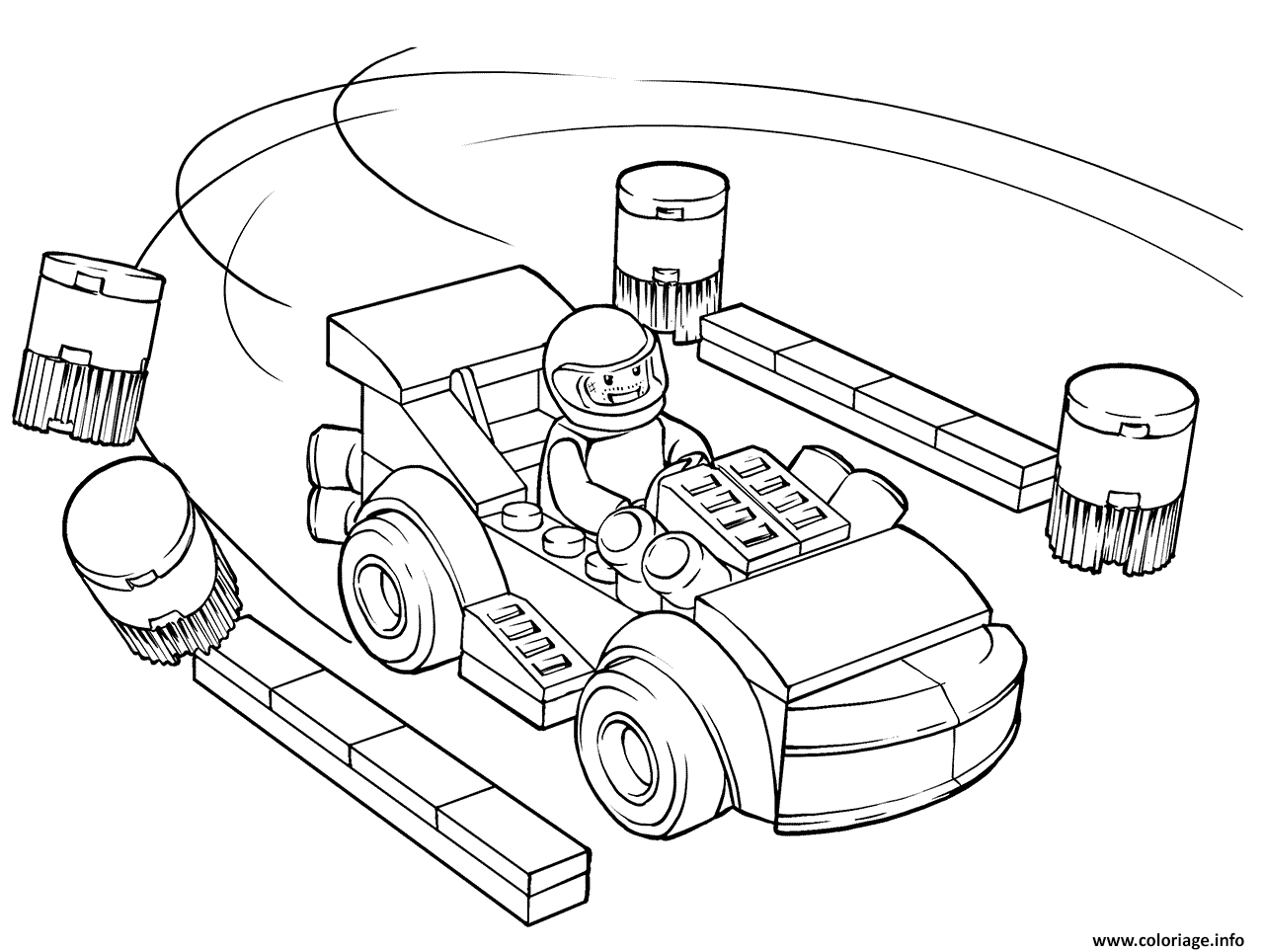 Dessin lego juniors racing car driver Coloriage Gratuit à Imprimer