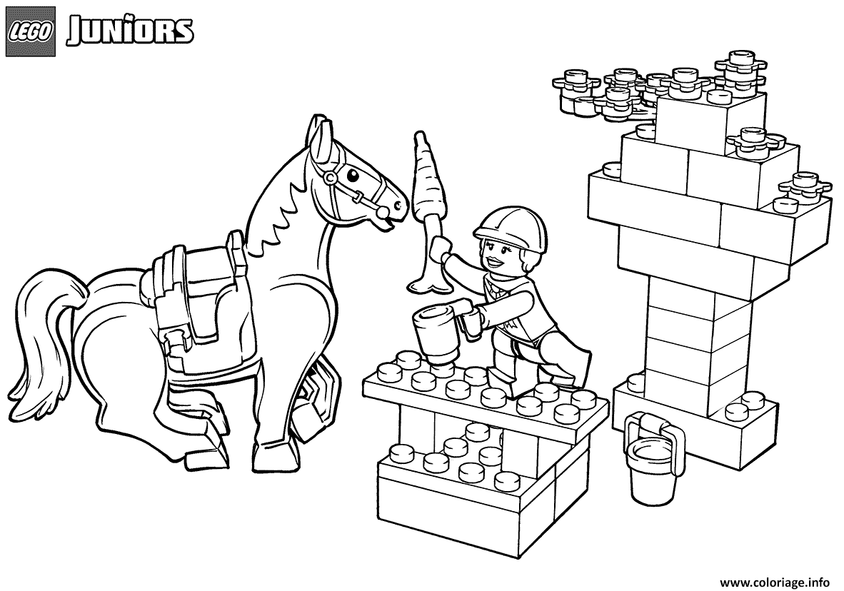 Coloriage Lego Junior Snack Time For Horse Dessin à Imprimer