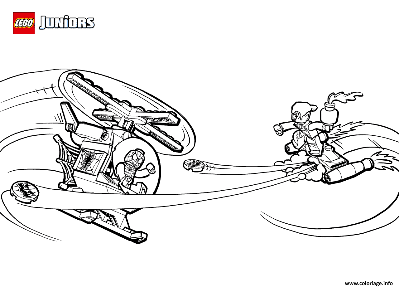 Coloriage Lego Spider Man And Green Goblin Helicopter