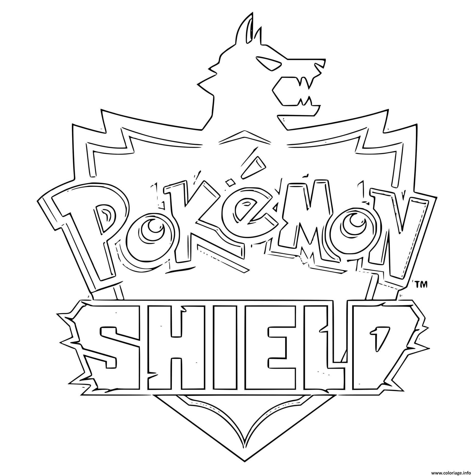 Coloriage Pokemon Shield Logo Dessin