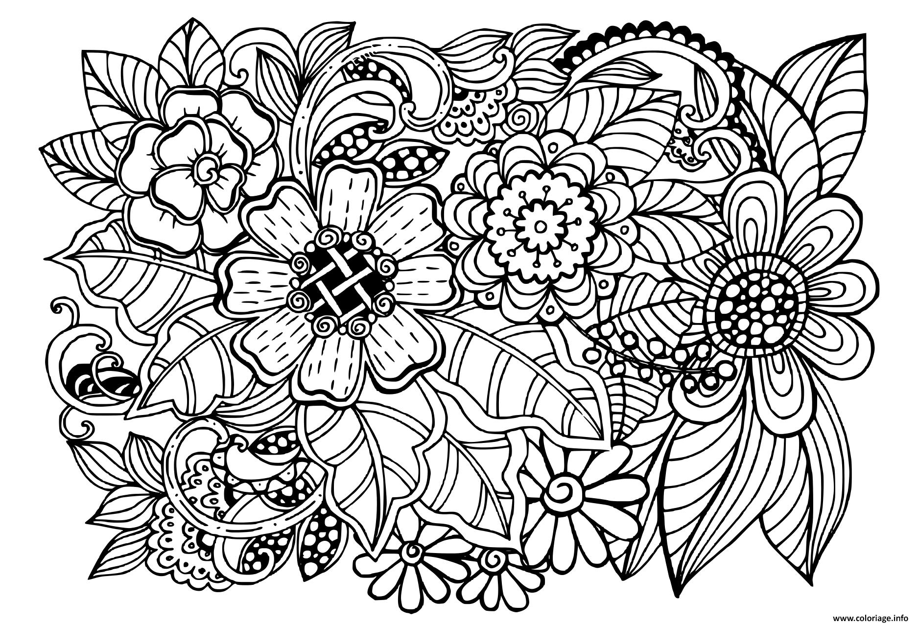 Coloriage Beau Doodle Motif Floral Adulte Dessin Adulte A Imprimer