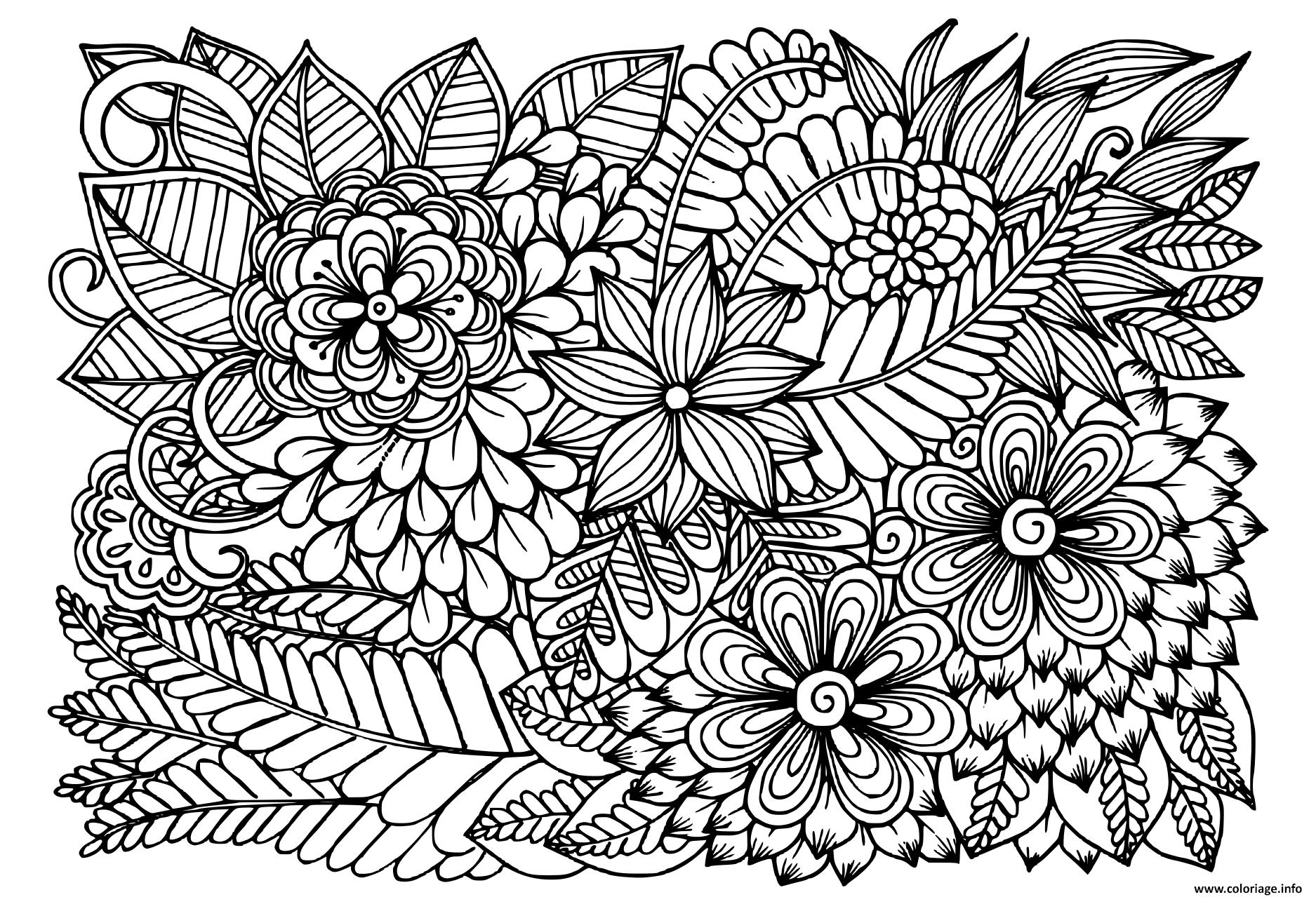 Coloriage Doodle Fleurs En Noir Et Blanc Motif Floral