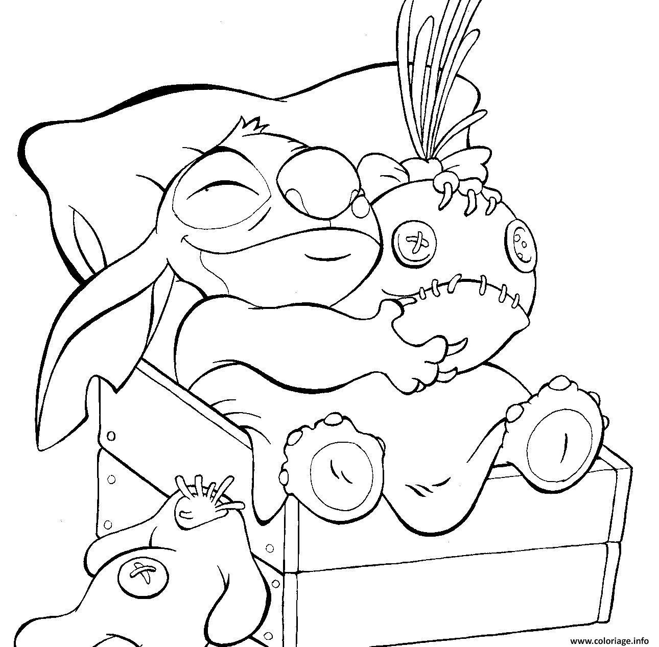 Dessin stitch veut dormir disney Coloriage Gratuit à Imprimer