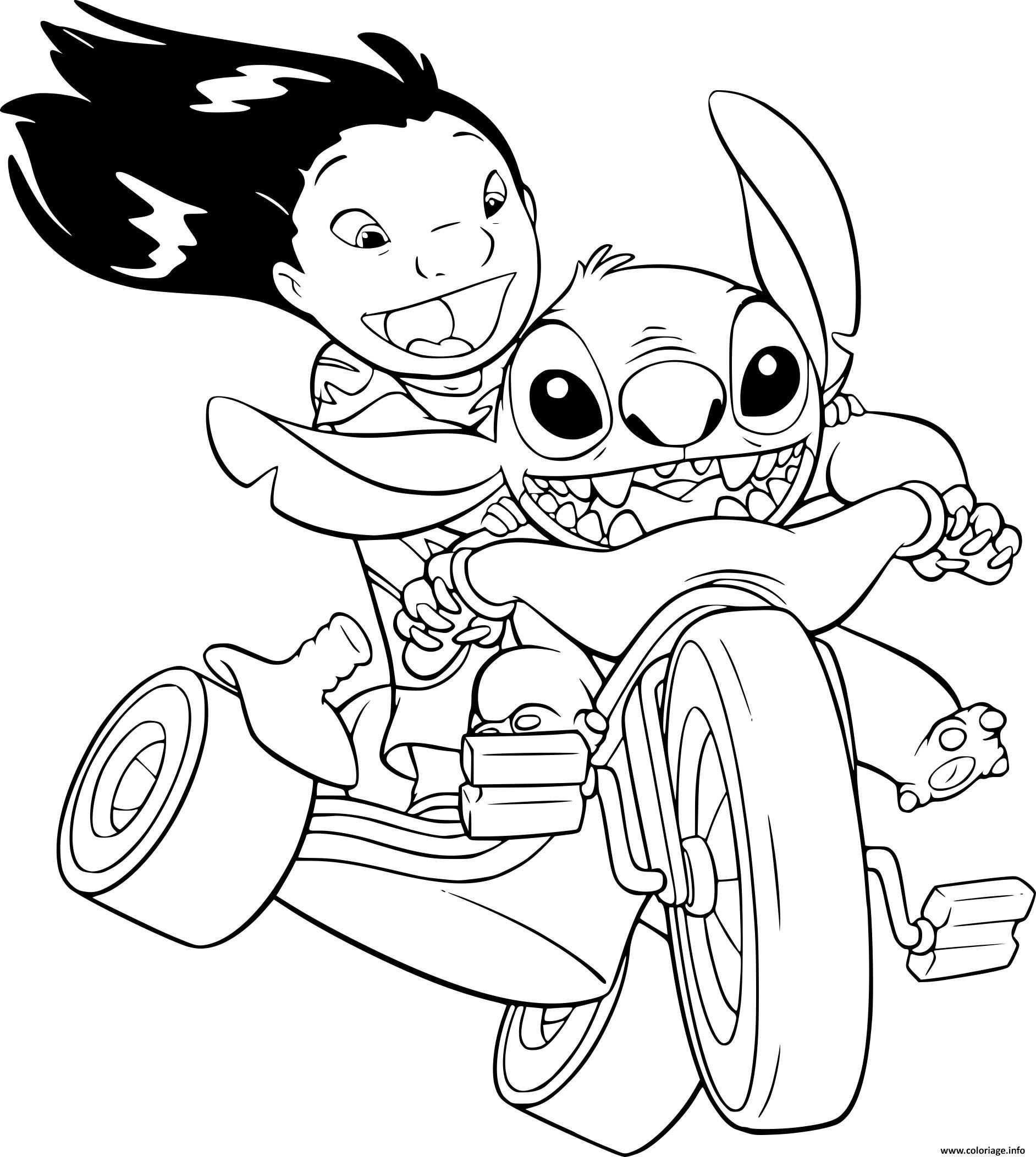 Coloriage Disney Lilo Et Stitch.Coloriage Lilo Et Stitch En Velo Jecolorie Com