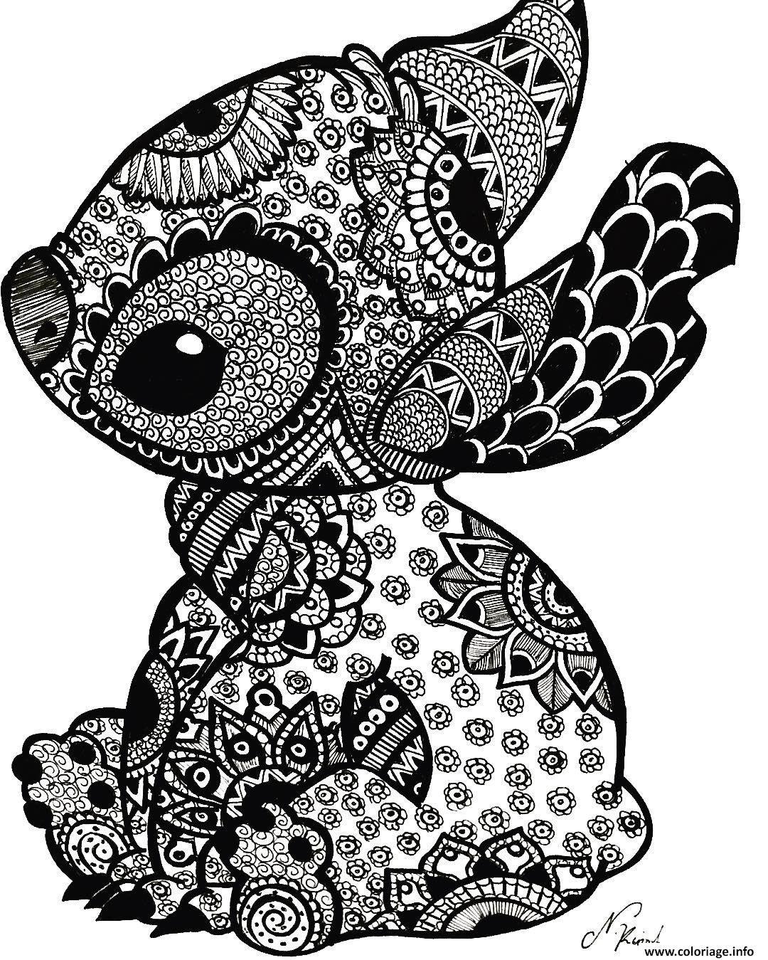 Dessin stitch mandala adulte zentangle Coloriage Gratuit à Imprimer