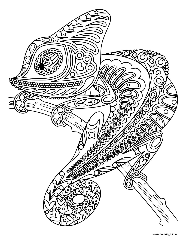 Dessin cameleon mandala noir et blanc Coloriage Gratuit à Imprimer