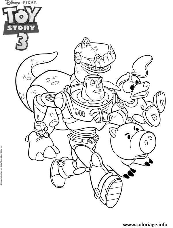 Dessin Toy Story 3 entrain de courir Coloriage Gratuit à Imprimer