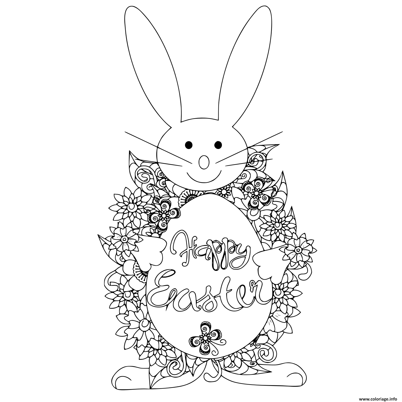 Coloriage Anti Stress Lapin.Coloriage Paques Sur Oeuf Lapin Anti Stress Jecolorie Com