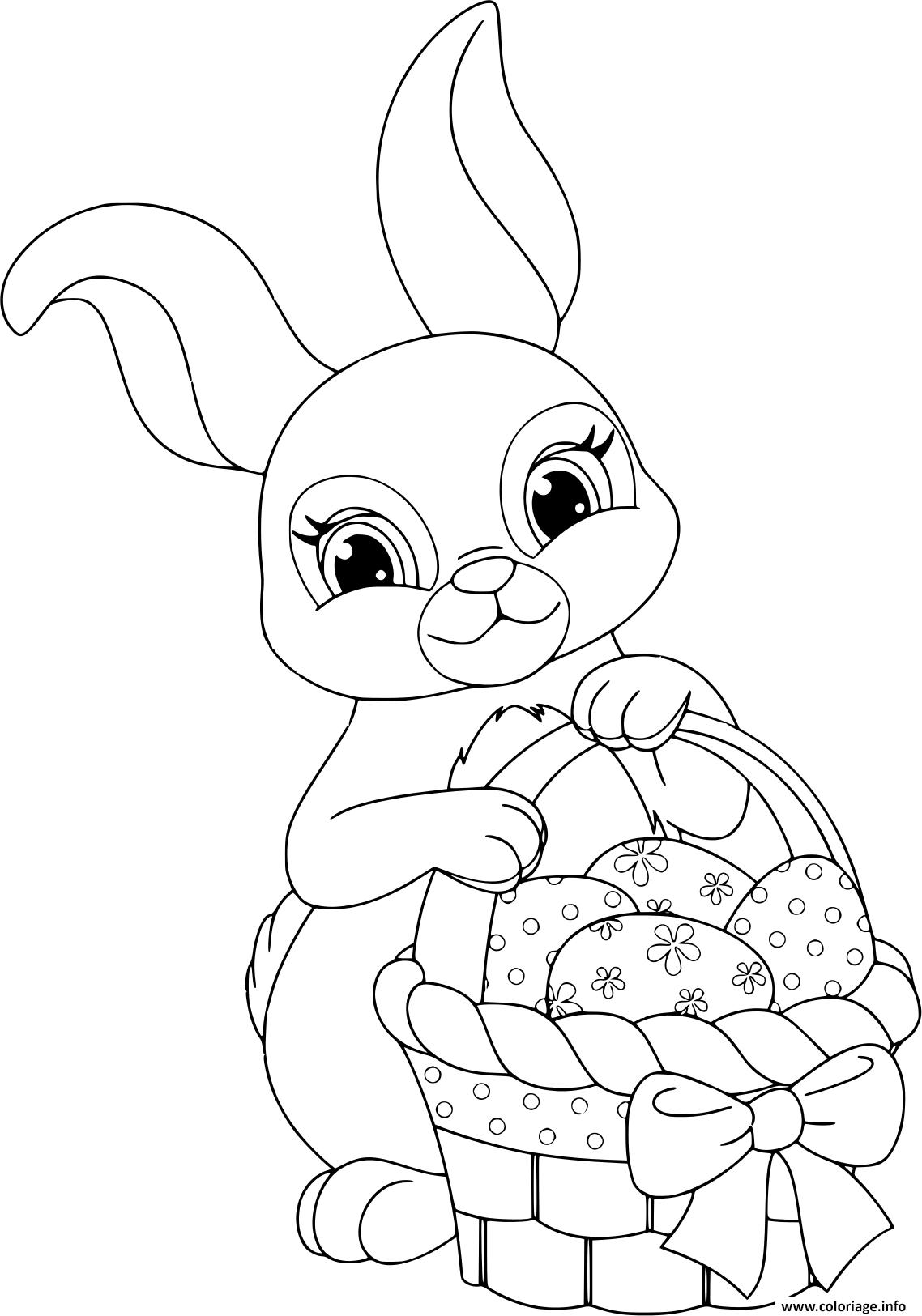 Coloriage Lapin De Paques Avec Panier Et œufs Jecoloriecom
