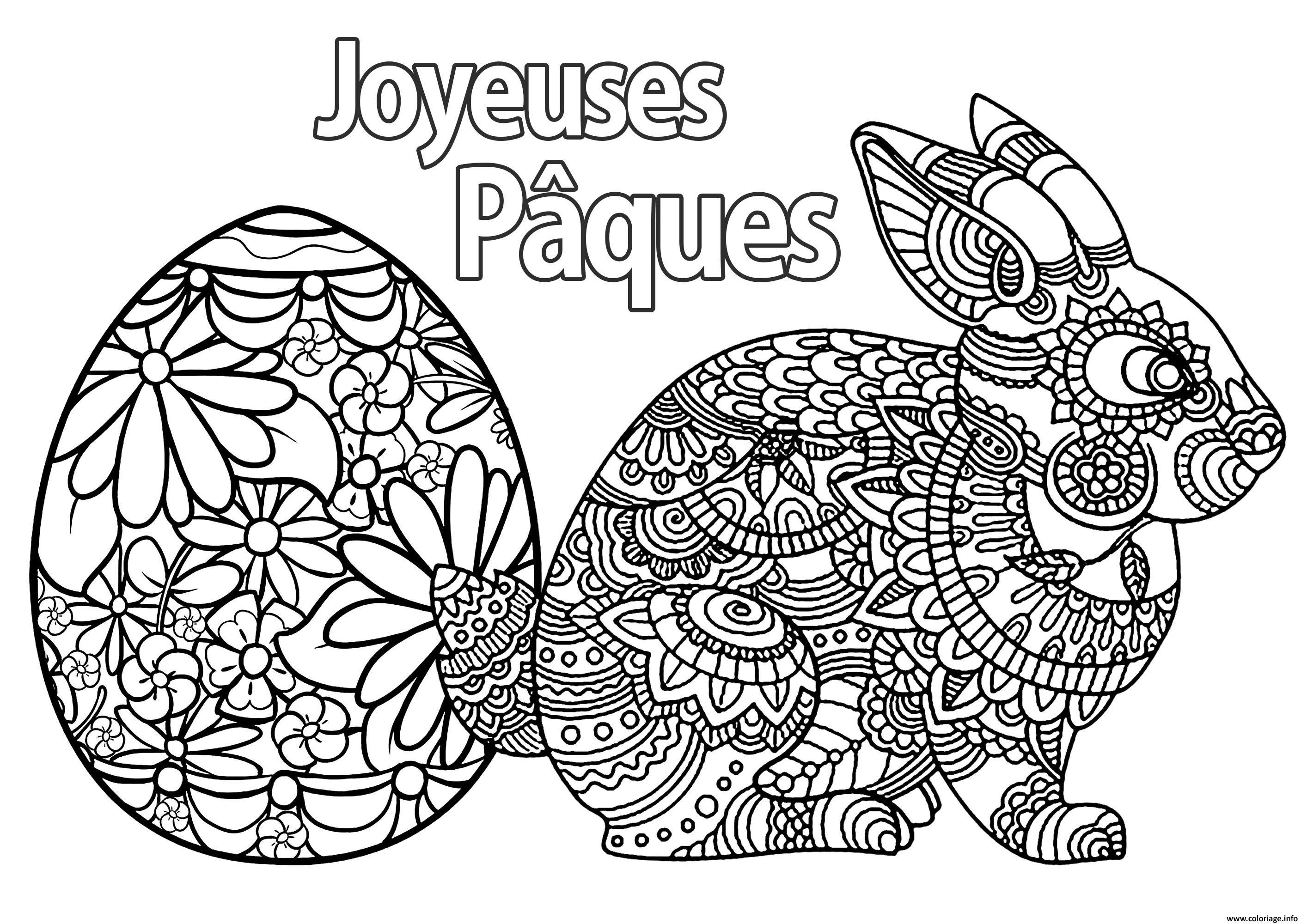 Coloriage Oeuf Et Lapin De Paques Joyeuse Paques Dessin