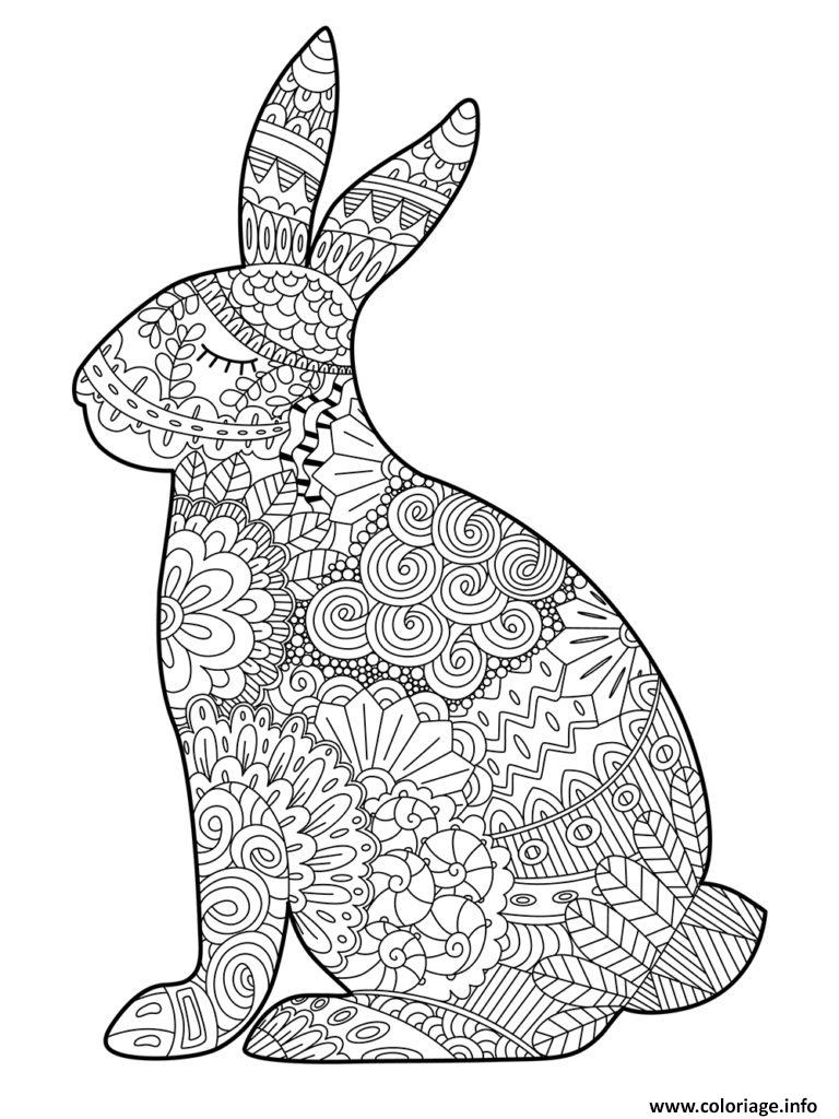 Coloriage Paques Lapin Adulte Zentangle Dessin
