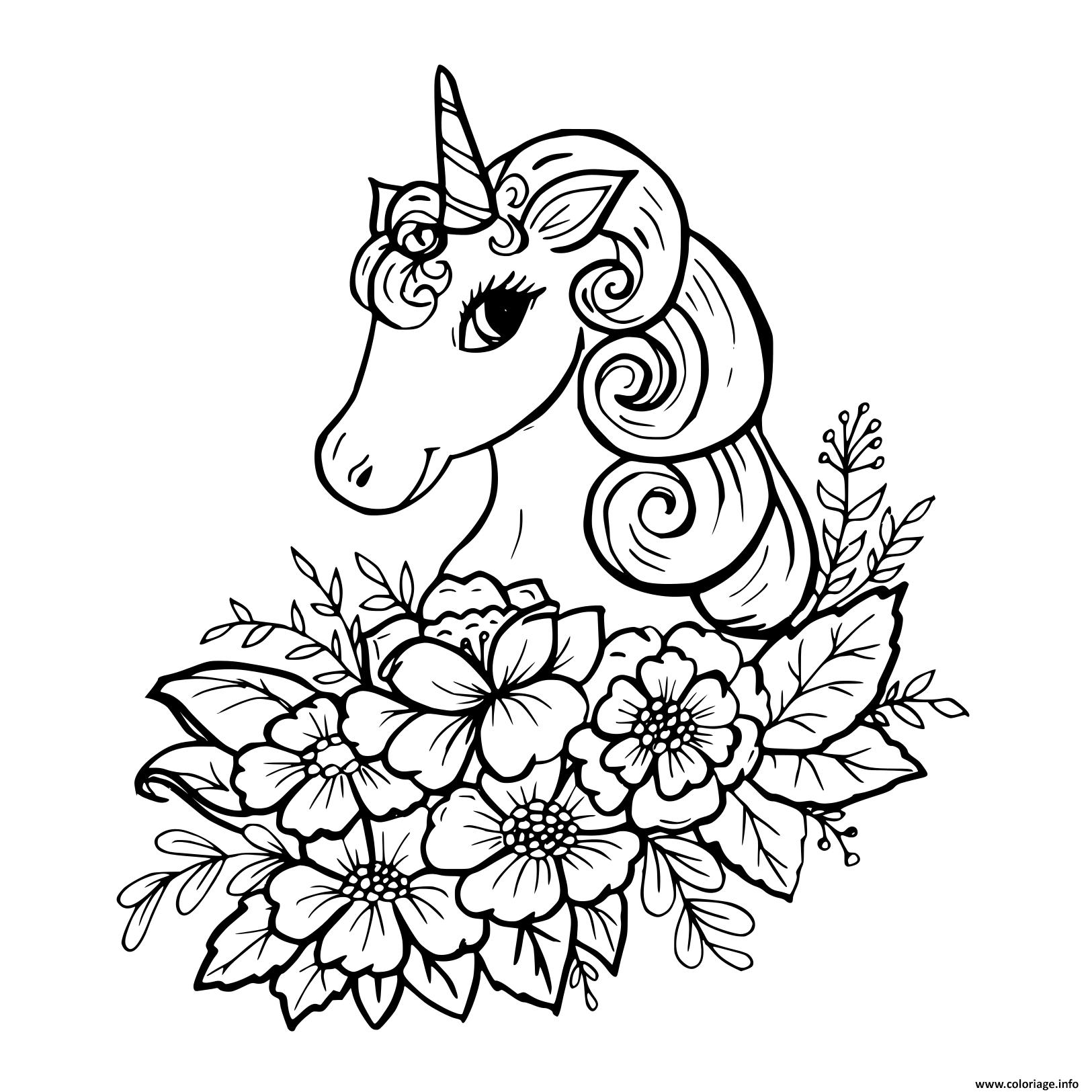 Coloriage Belle Licorne Avec Fleurs Jecolorie Com
