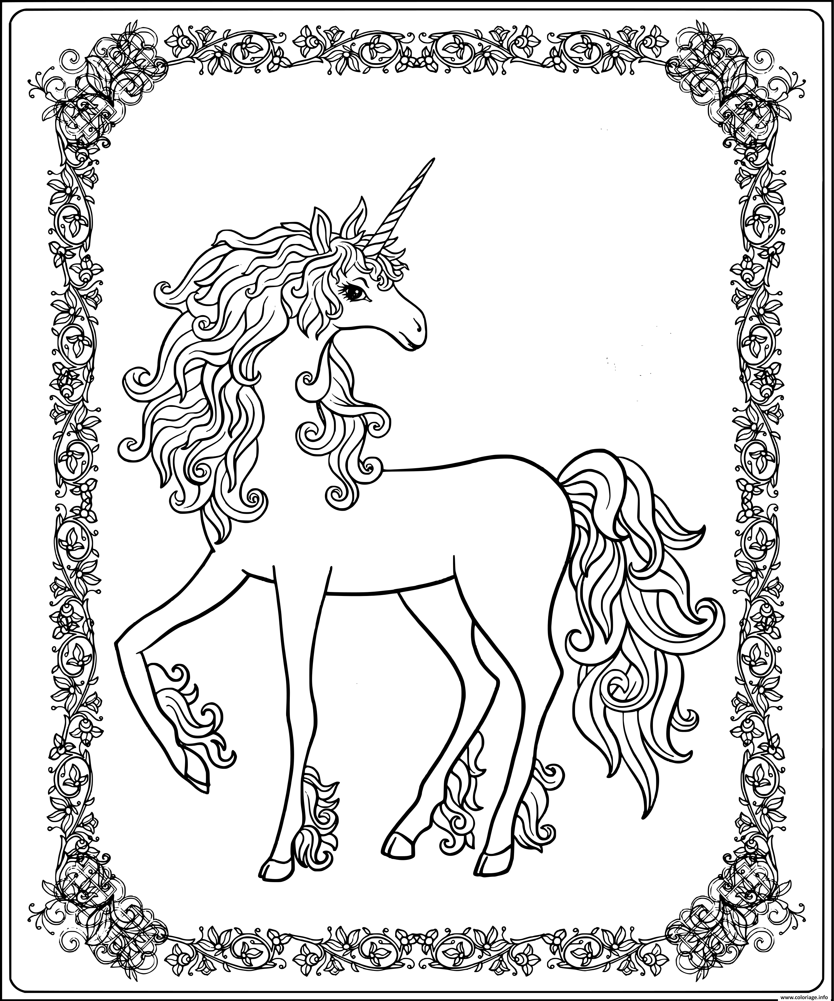 Coloriage Licorne Royale Avec Contour En Fleurs dessin