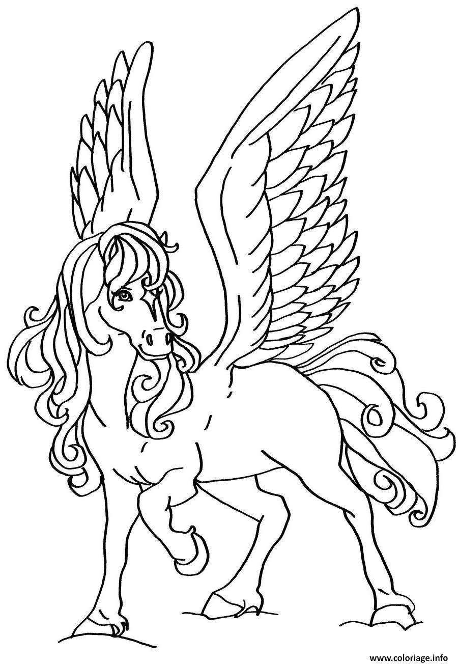 Coloriage Fille A Imprimer Princesse.Coloriage Cheval Volant Pour Une Princesse Fille Jecolorie Com