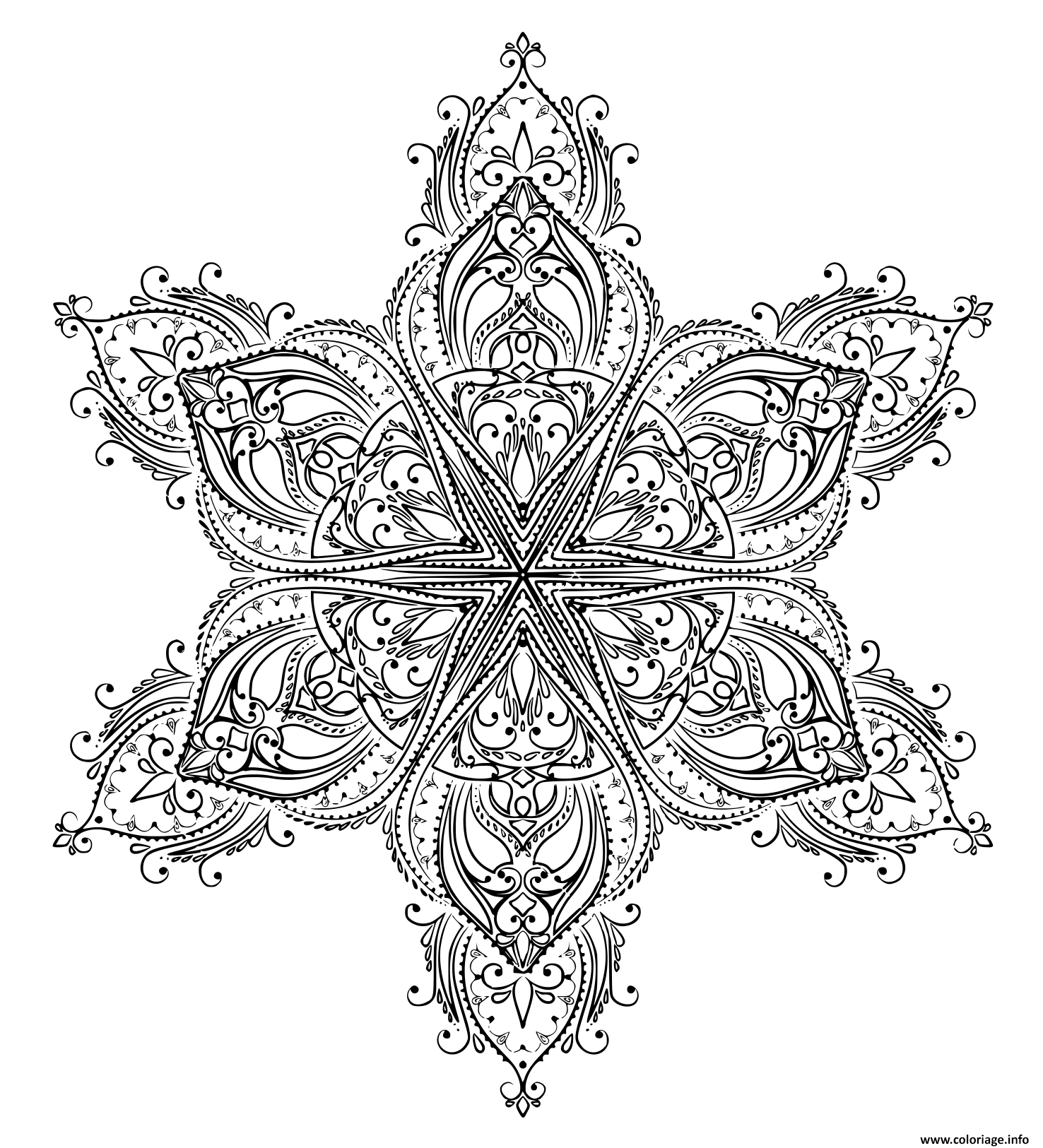 Coloriage Mandala Forme Etoile Jecolorie Com