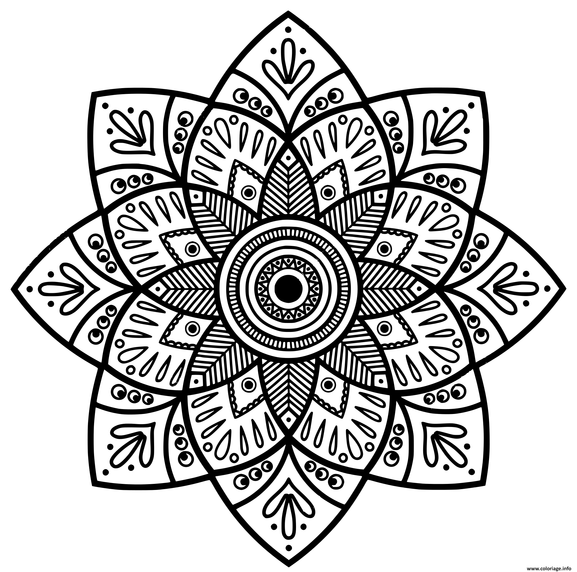 Coloriage Mandala Indien Medaillon dessin