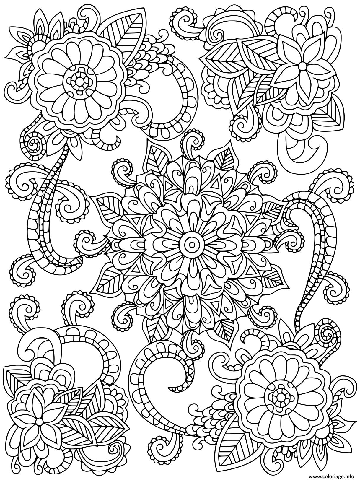 Coloriage mandala fleurs pour adulte - JeColorie.com