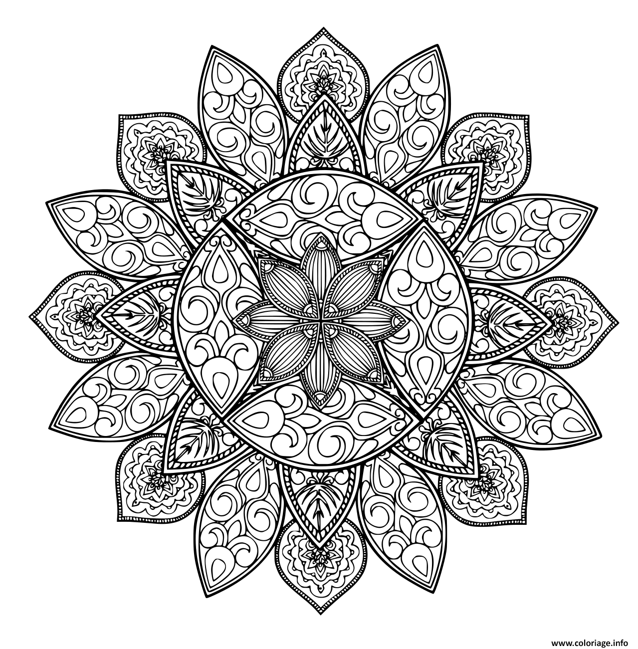 Dessin mandala forme geometrique Coloriage Gratuit à Imprimer