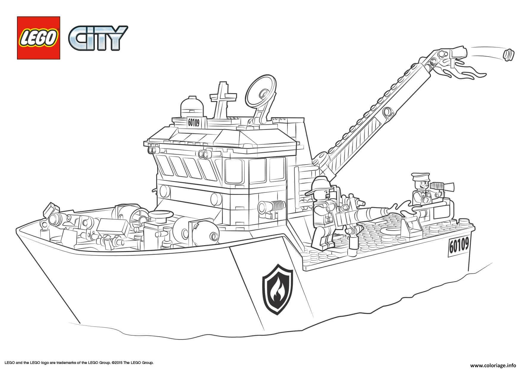 Dessin Lego City Fire Boat Coloriage Gratuit à Imprimer