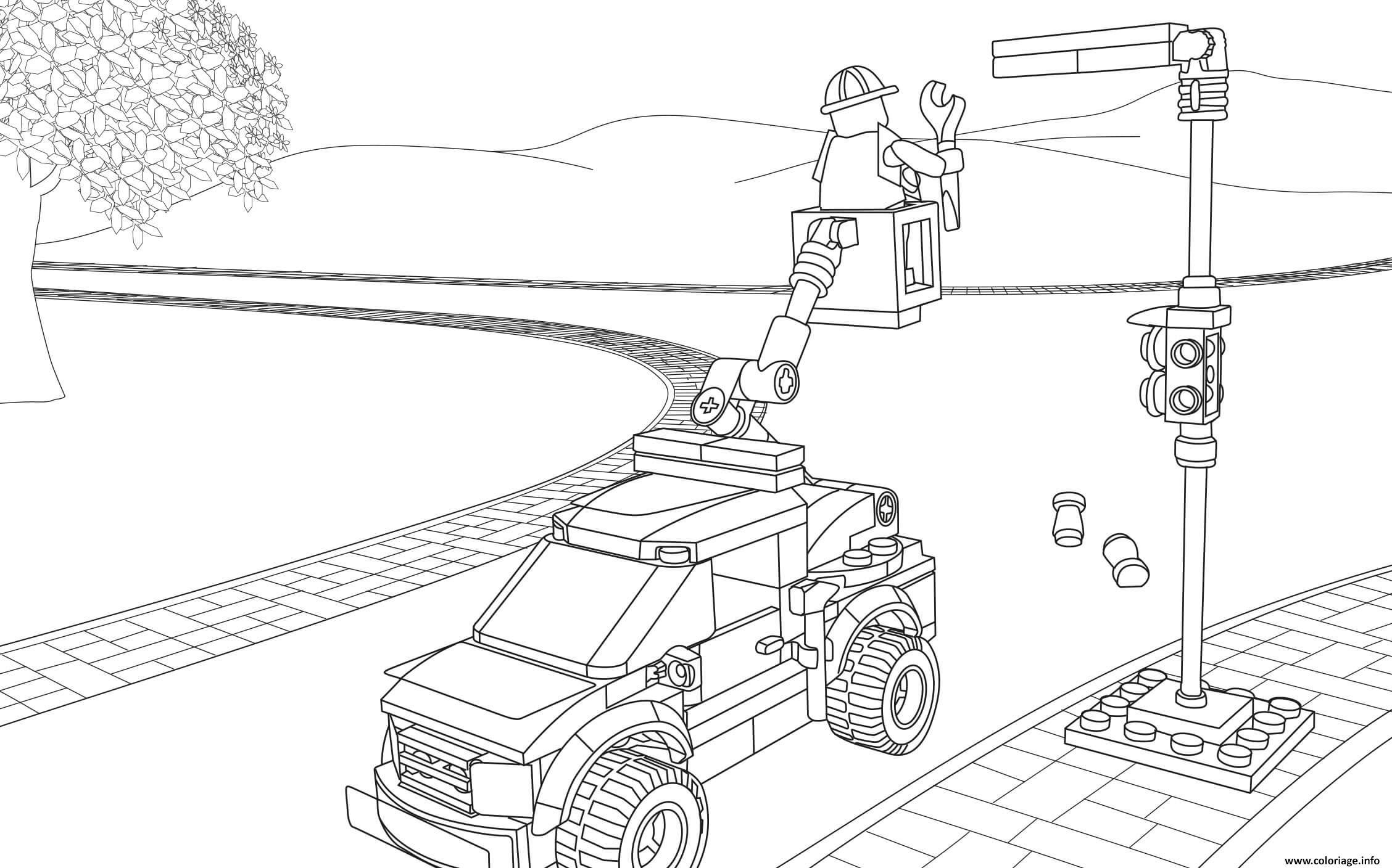 Dessin Lego City Light Repair Truck Coloriage Gratuit à Imprimer