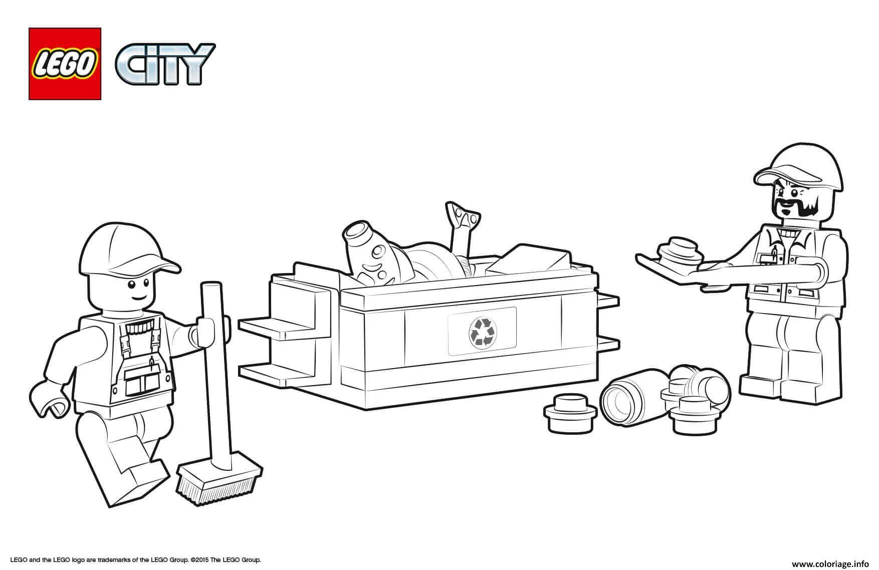 Dessin Lego City Garbage Truck Coloriage Gratuit à Imprimer