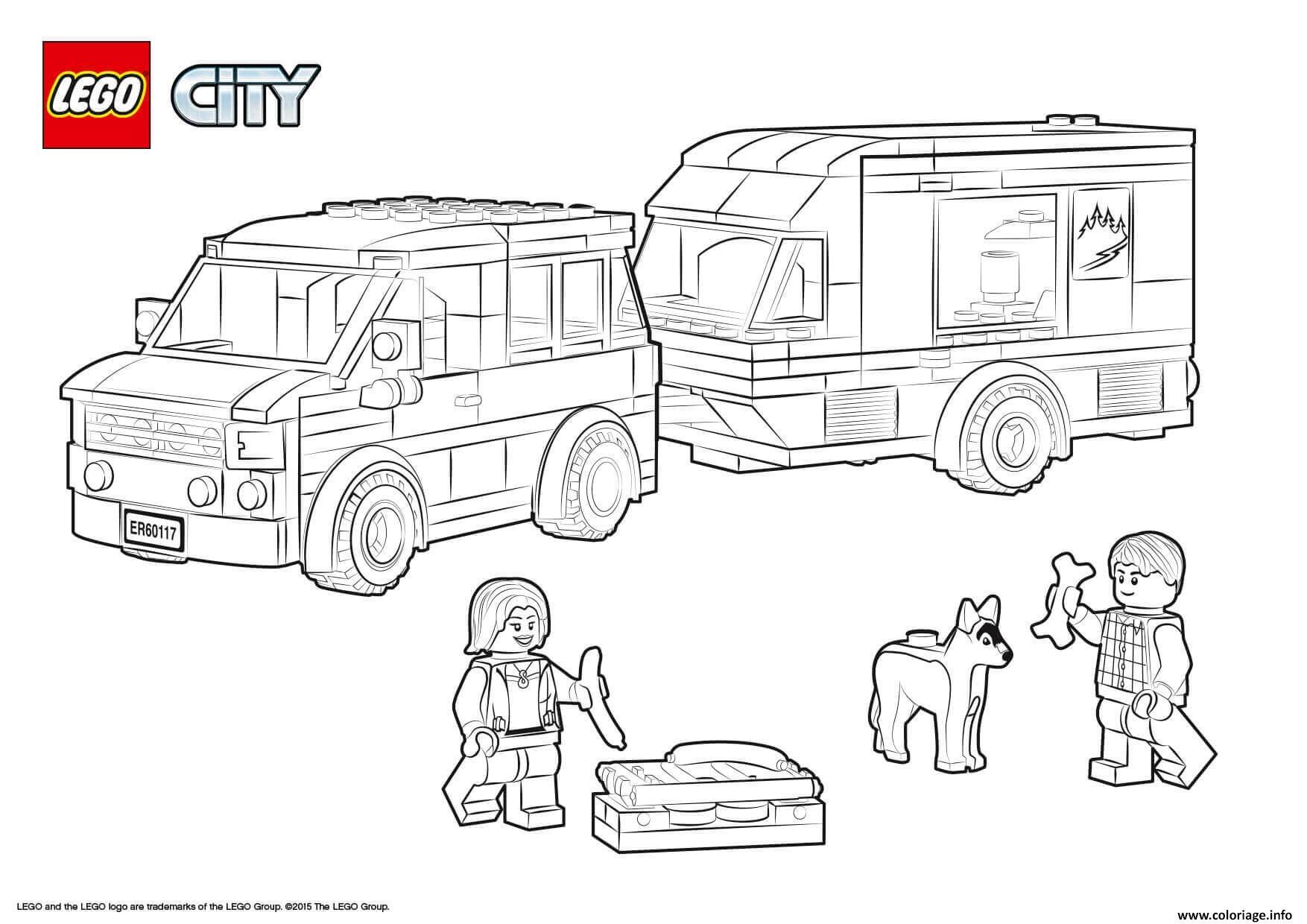 Coloriage Lego City Van And Caravan Dessin