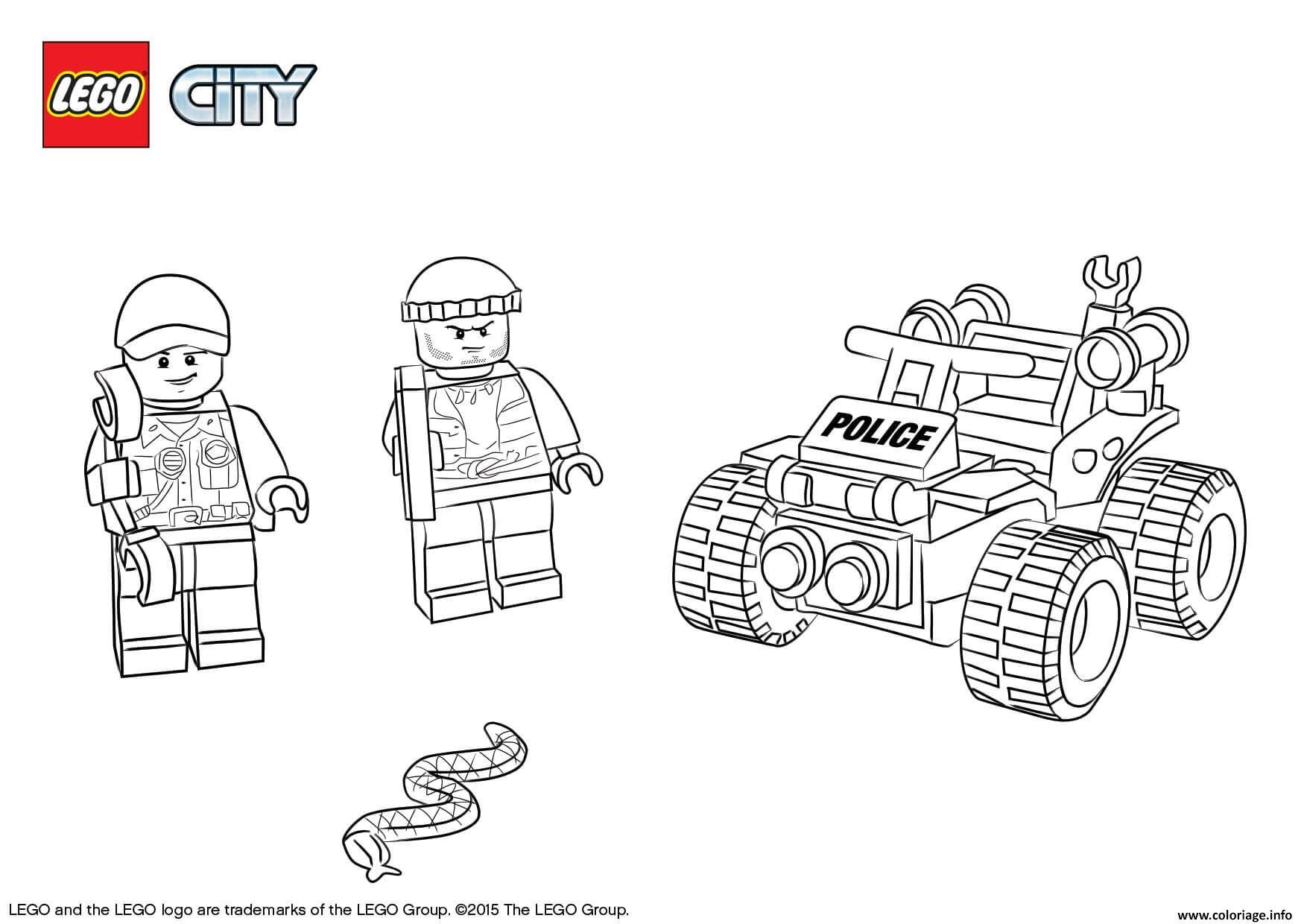 Coloriage Lego City Atv Patrol Police Jecolorie Com