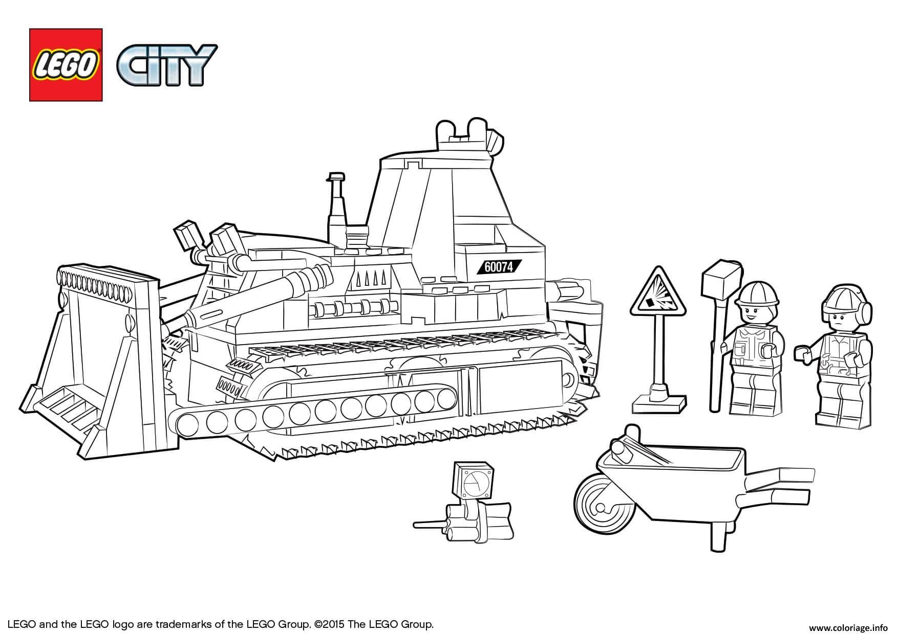 Dessin Lego City Bulldozer Construction Coloriage Gratuit à Imprimer