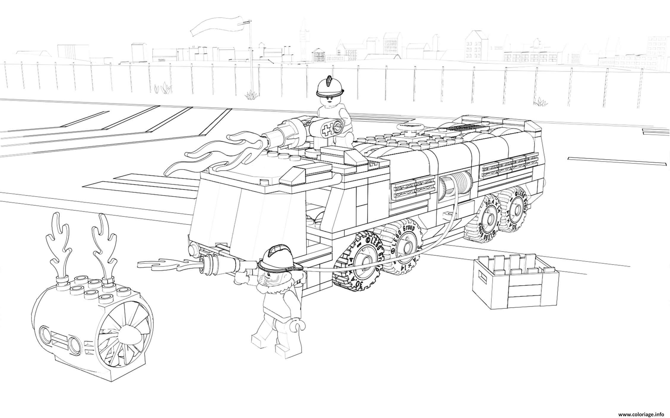 Dessin Lego City Firefighter Fire Truck Coloriage Gratuit à Imprimer