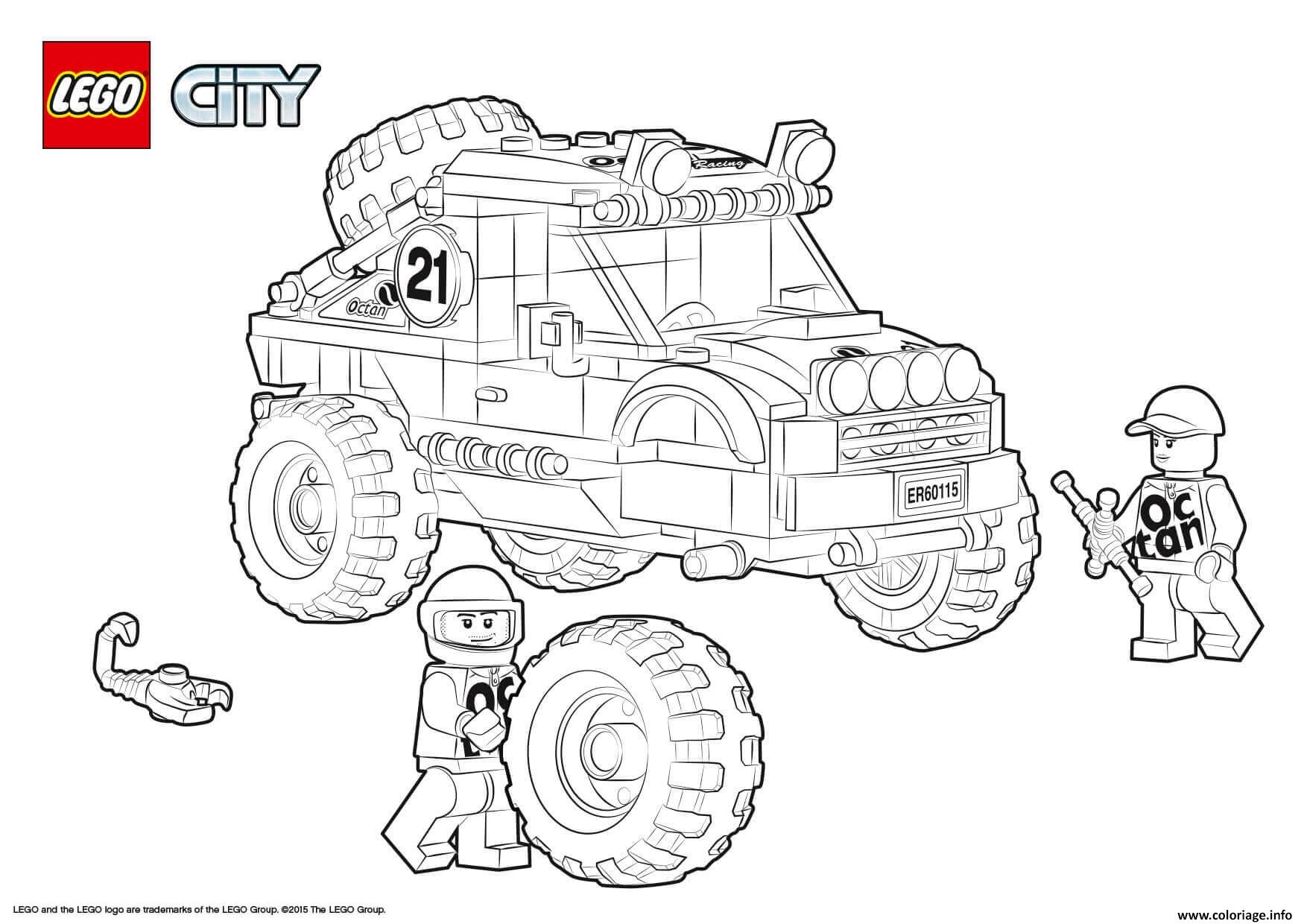 Coloriage Lego City 4x4 Off Roader Jecolorie Com