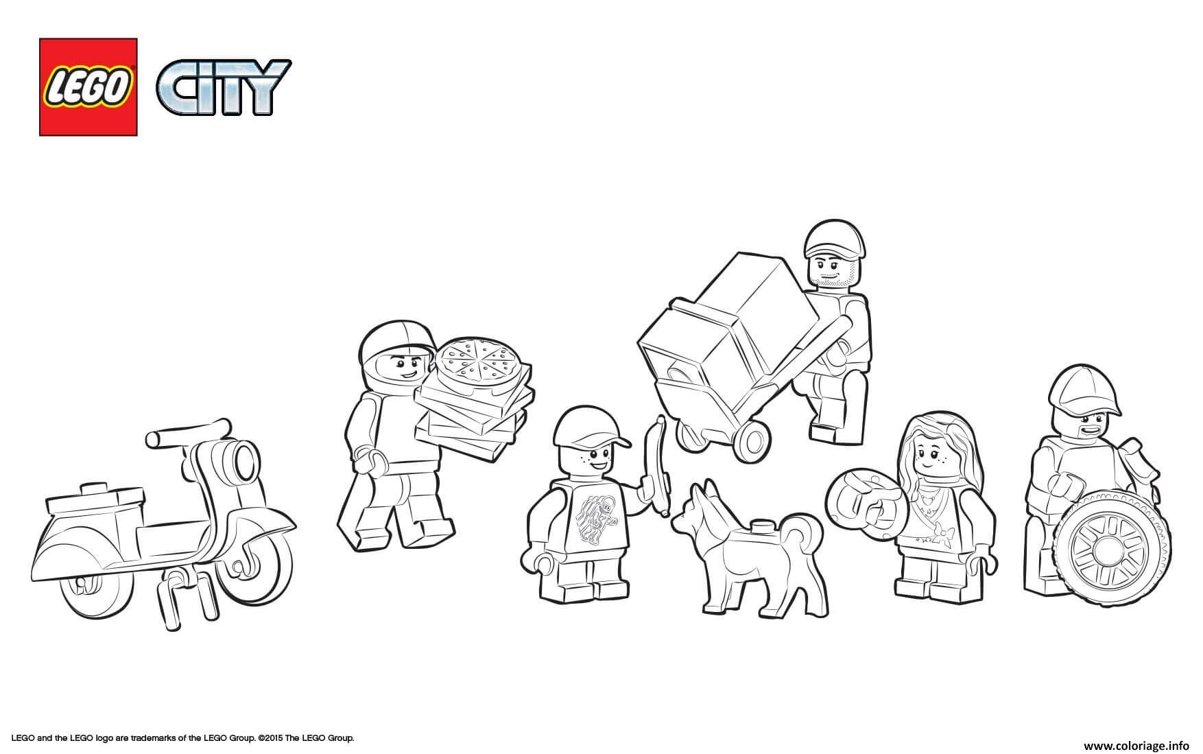 Coloriage Lego City Square Skooter Pizza Dog Dessin