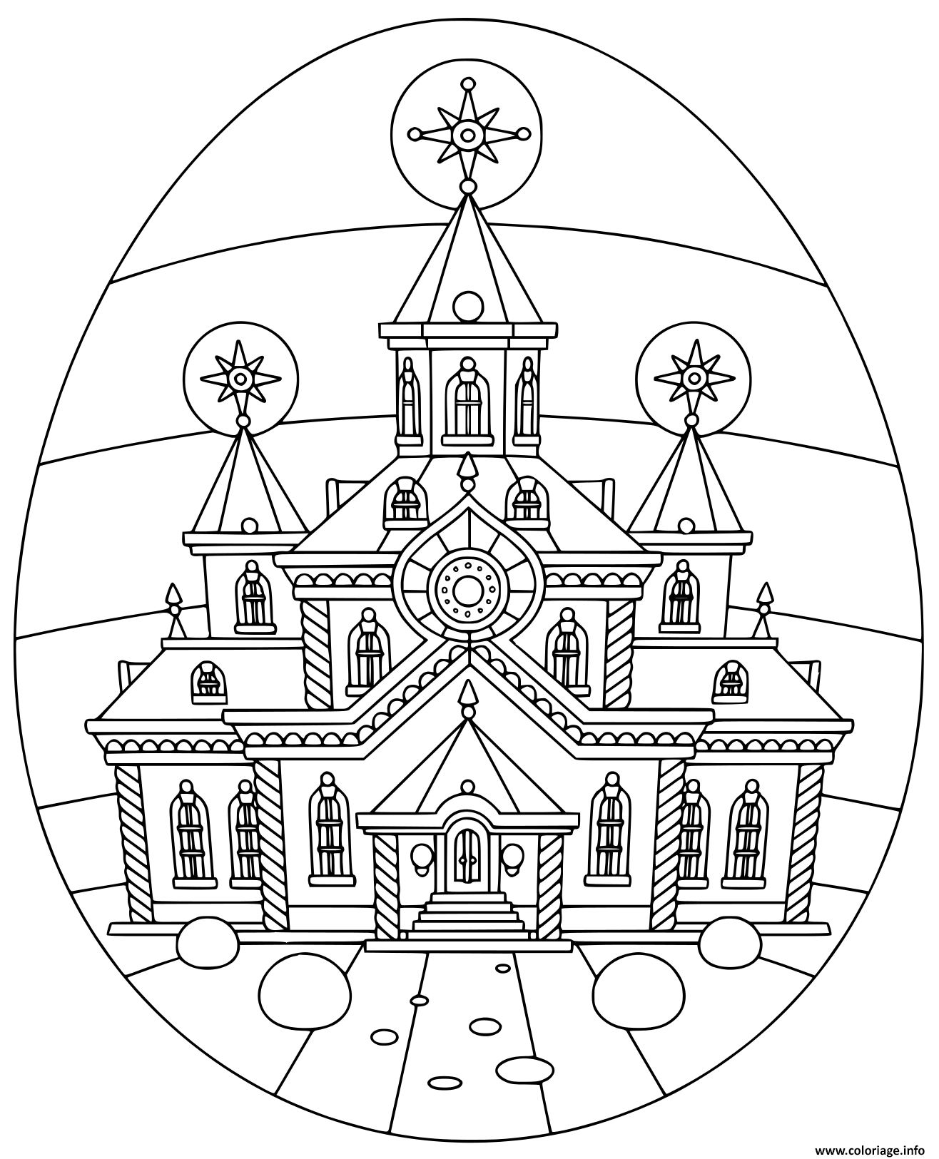 Coloriage Oeuf De Paques Avec Eglise Religion Dessin Paques A Imprimer