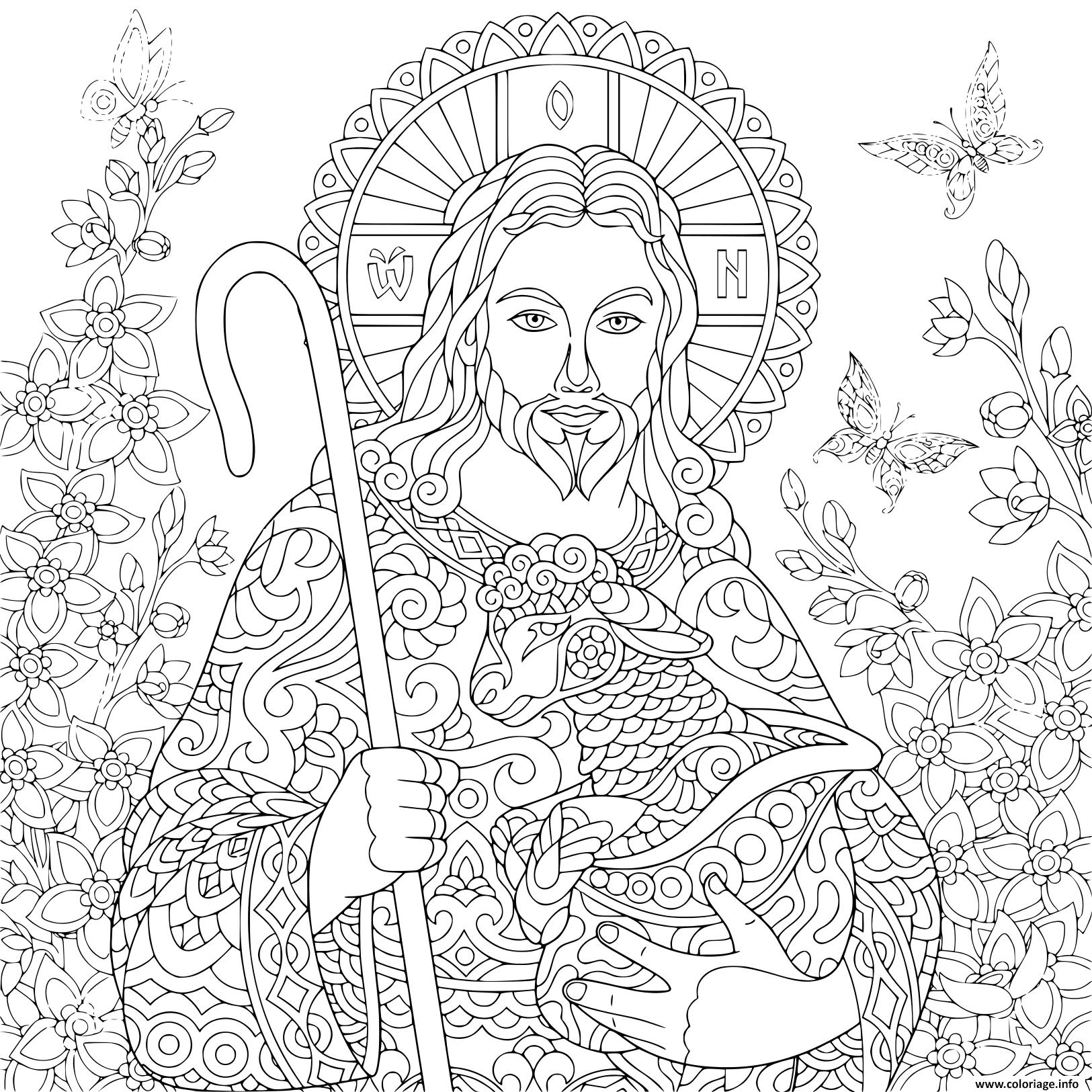 Coloriage Religieux Paques Jesus Christ Avec Un Agneau Portrait De Christian Biblique Adulte Dessin Paques Adulte A Imprimer